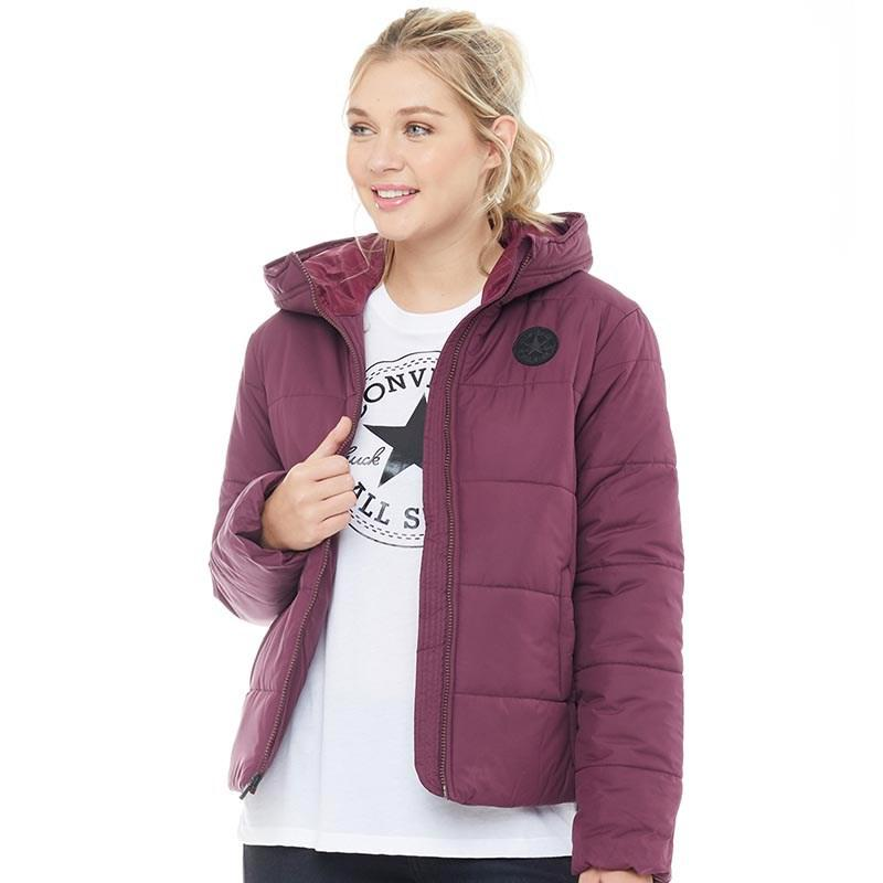 127cf36e86d Converse Core Poly Fill Puffer Jacket Burgundy in Purple - Lyst
