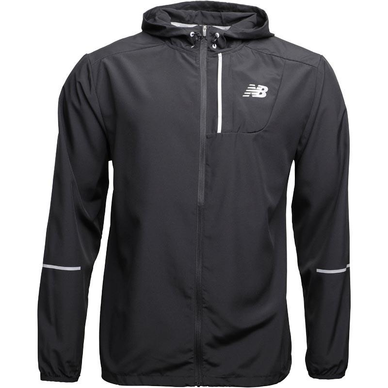 76a200bfb7ed2 New Balance Lightweight Water Resistant Hooded Running Jacket Black ...