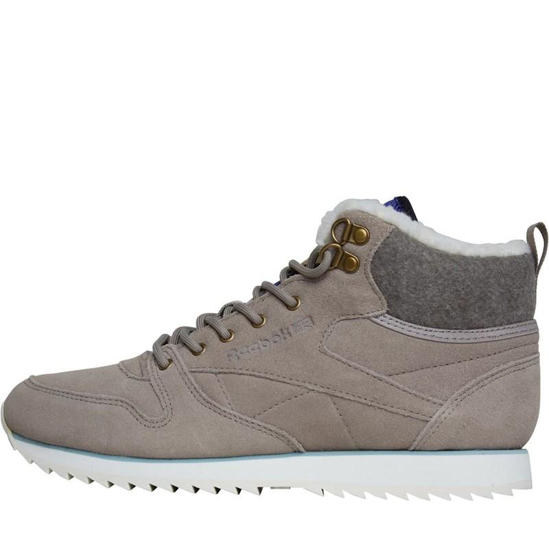 3bde4faa68a Reebok Leather Mid Outdoor Trainers Beach Stone chalk diffused Blue ...