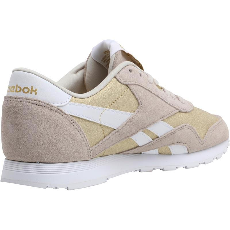 f6843587234 Reebok Classic Nylon Gl Trainers Stucco gold Met white in Metallic ...