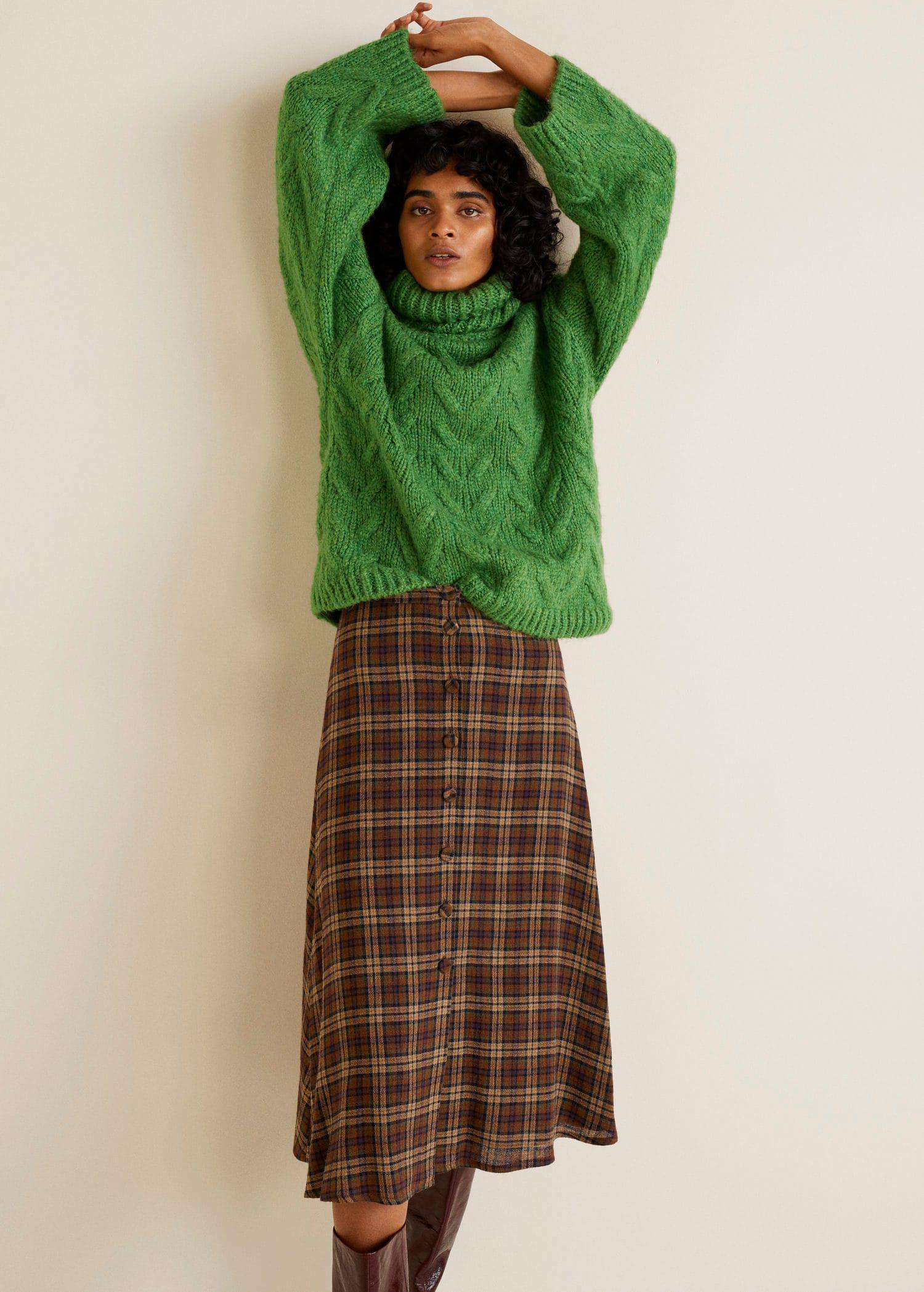 Lyst - Mango Buttoned Midi Skirt in Green 7c1e282f2