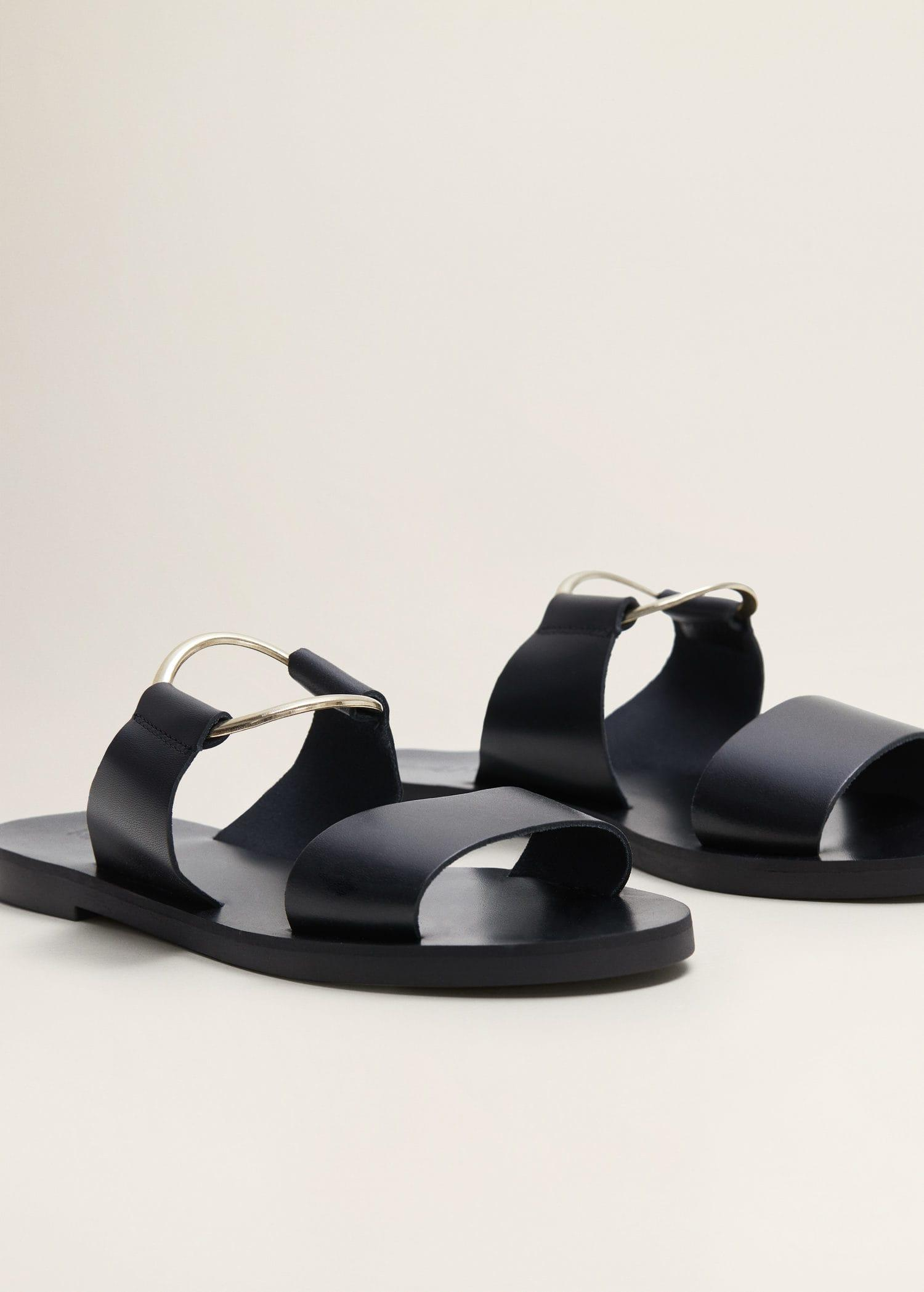44bb7ebe32 Mango - Black Ring Leather Sandals - Lyst. View fullscreen
