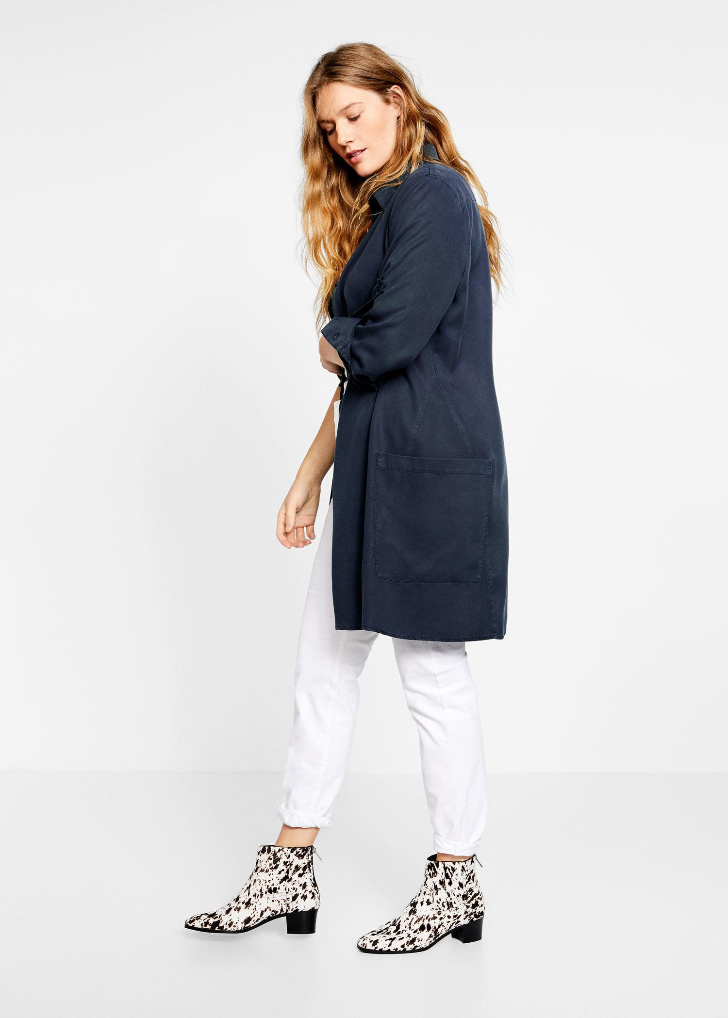 4c5510a6912 Lyst - Violeta by Mango Flowy Long Shirt in Blue
