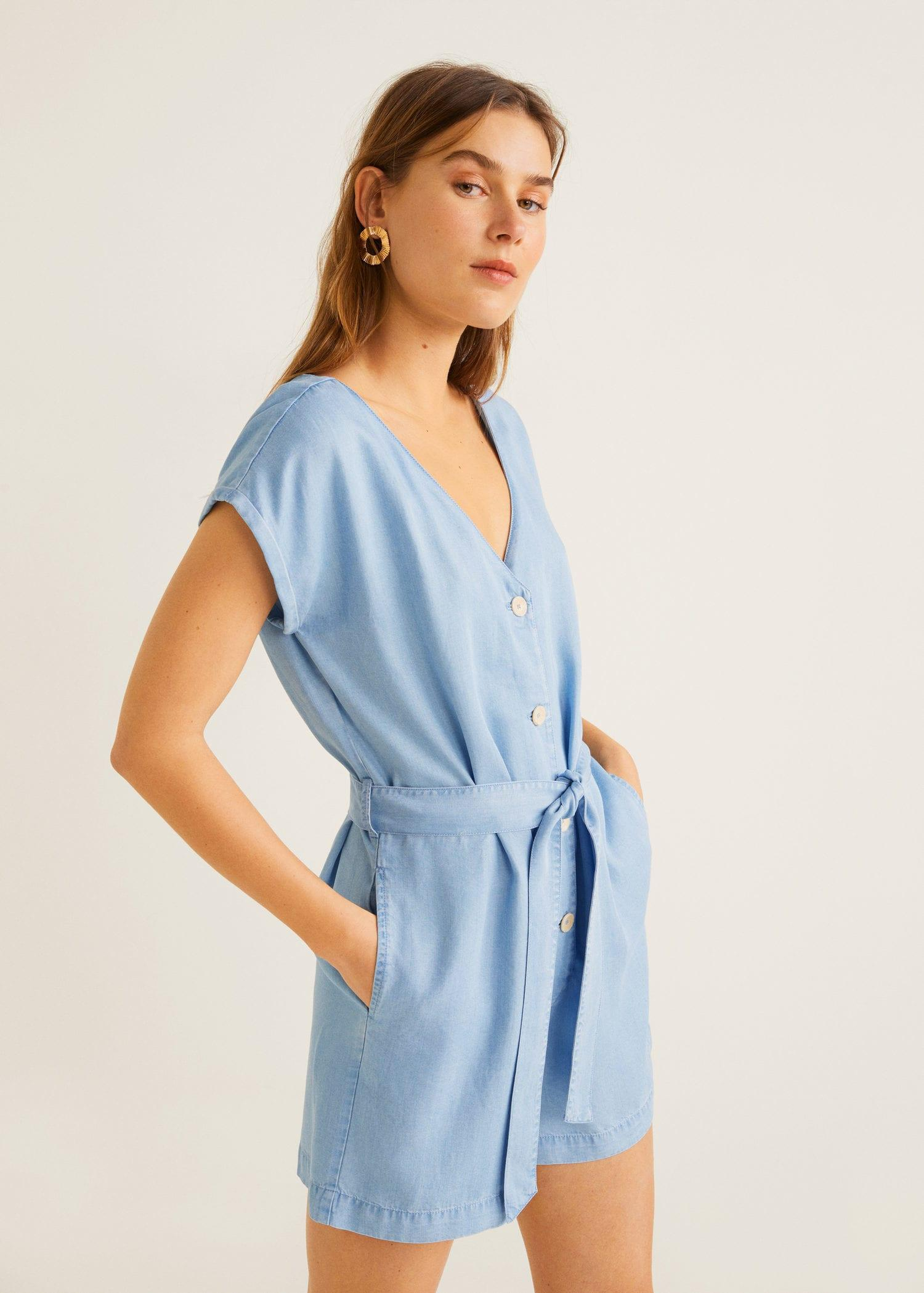 45709cf2239 Lyst - Mango Soft Buttoned Jumpsuit in Blue