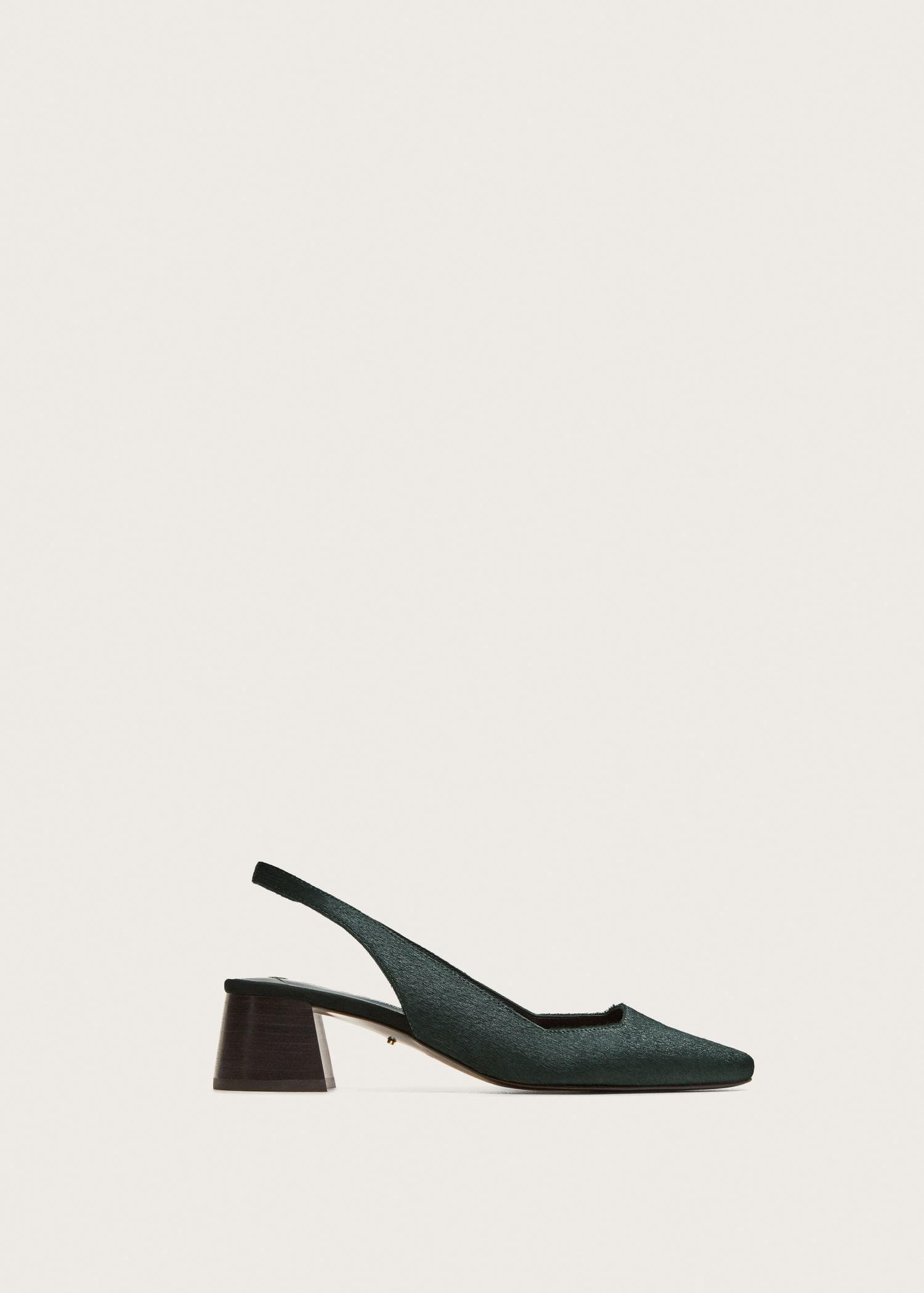 1a743d15088 Lyst - Violeta by Mango Slingback Leather Shoes in Green