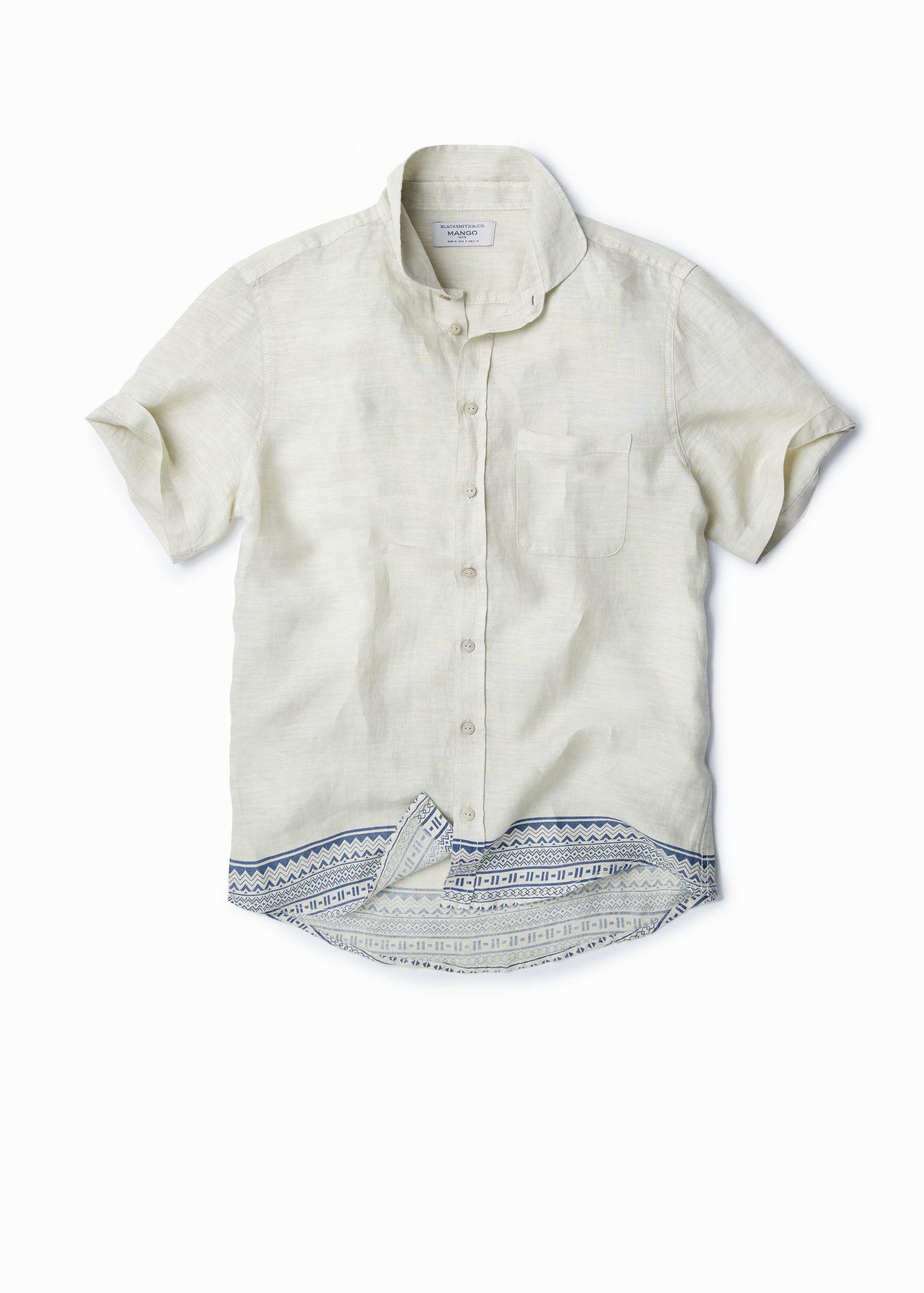 Mango Slim Fit Linen Shirt In White For Men Lyst