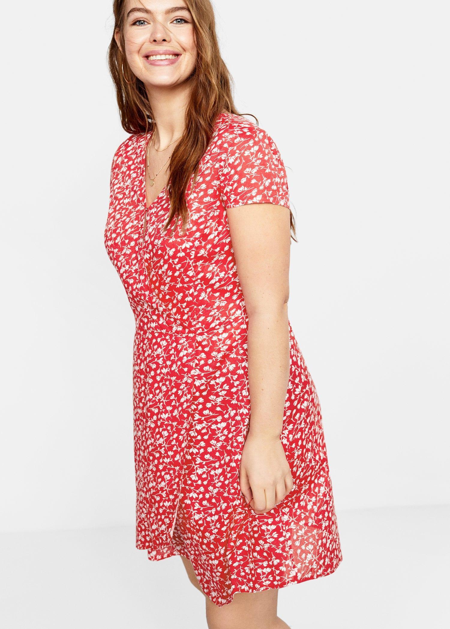 8082f3b4fb5f Violeta by Mango - Red Floral Wrap Dress - Lyst. View fullscreen