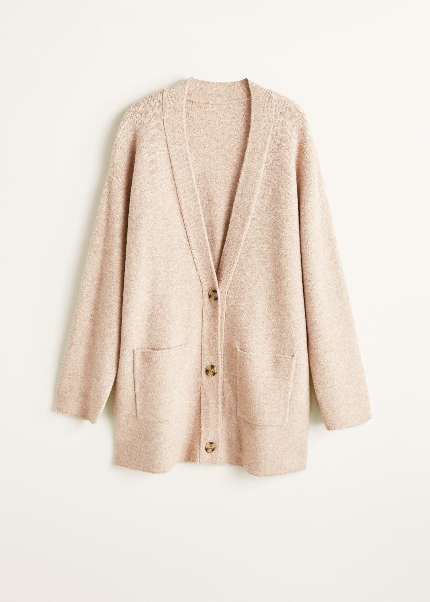 e78b65f9dd45 Mango Long Wool-blend Cardigan in Natural - Lyst