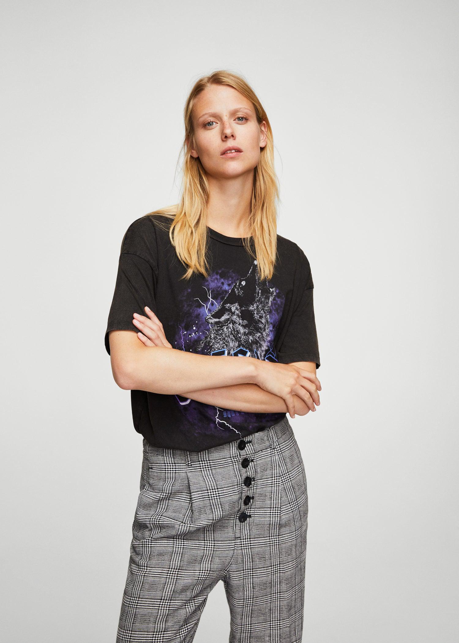 f1addc23413 Lyst - Mango Rock Cotton T-shirt in Gray
