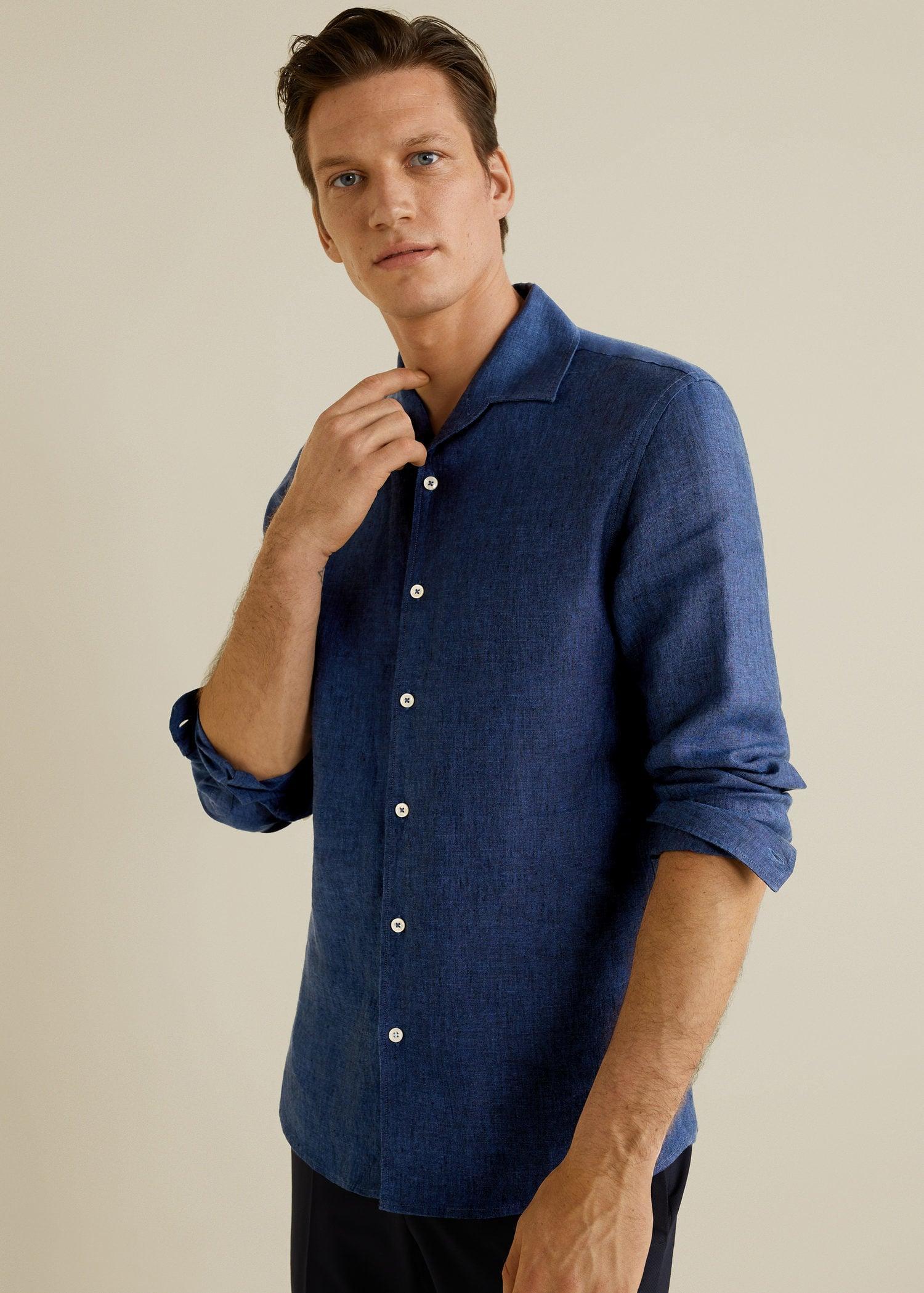 3982ac09b330 Mango Slim-fit Linen Shirt in Blue for Men - Lyst