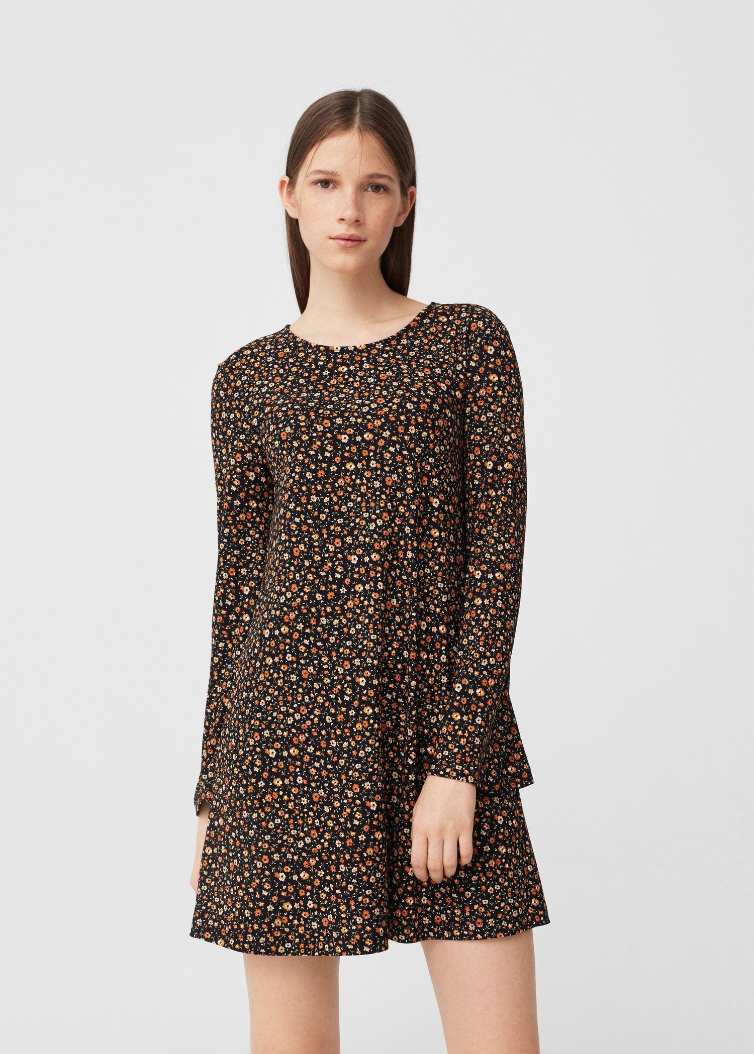 Mango Flowy Dress in Brown | Lyst