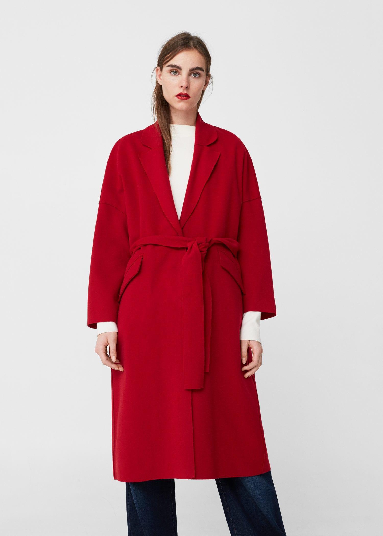 Mango Belt Wool Coat in Red | Lyst