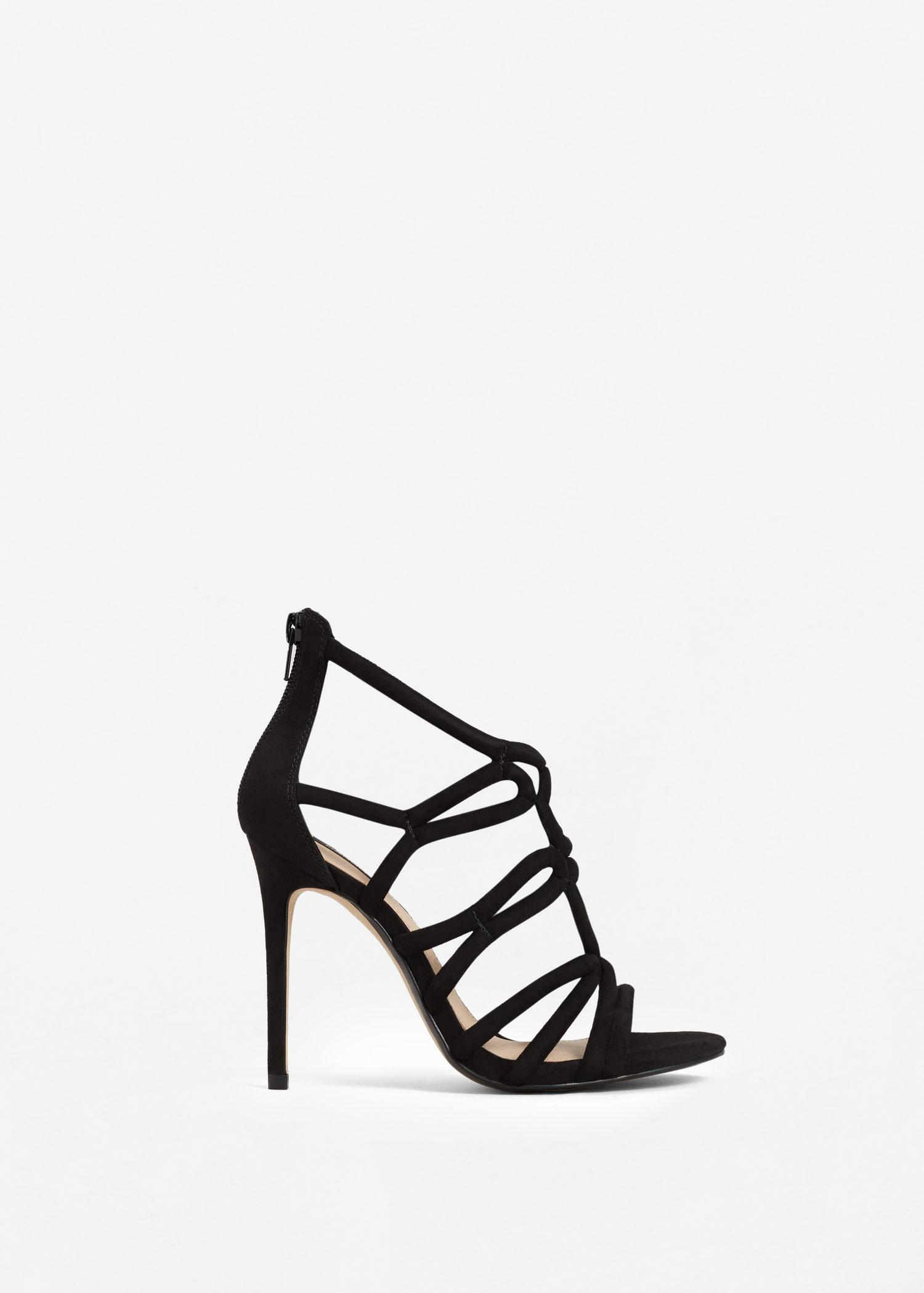 f8322697140 Lyst - Mango Strappy Heeled Sandals in Black
