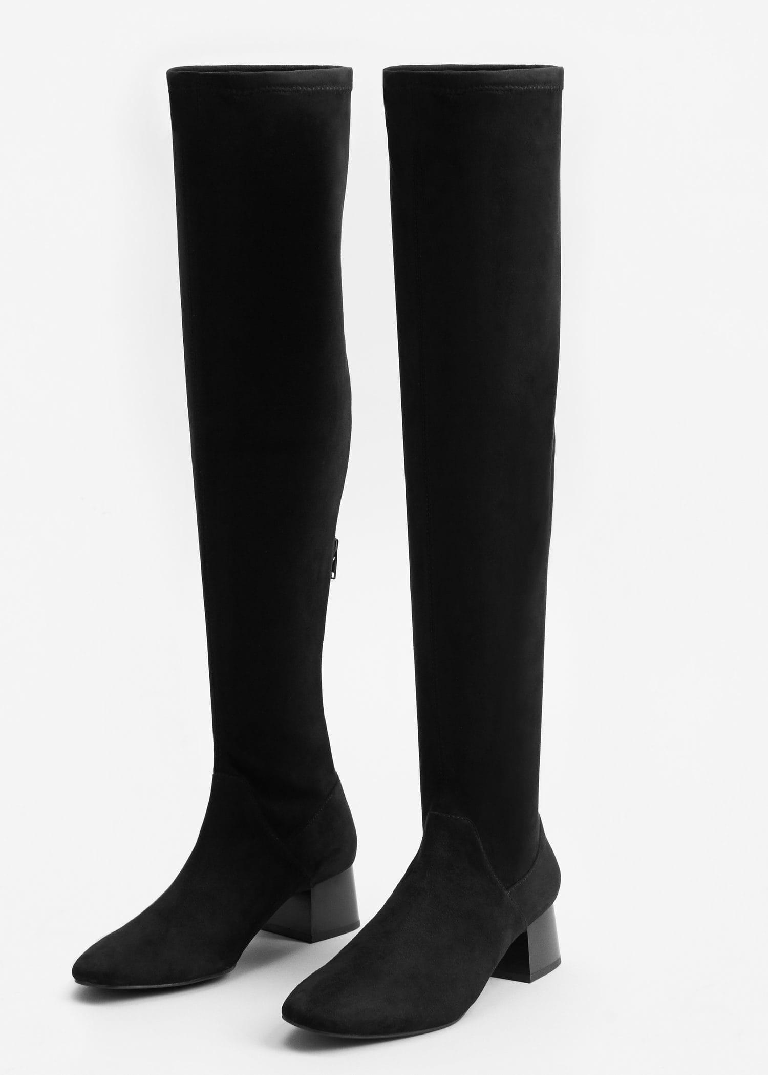 Lyst Mango Over The Knee Heel Boots In Black