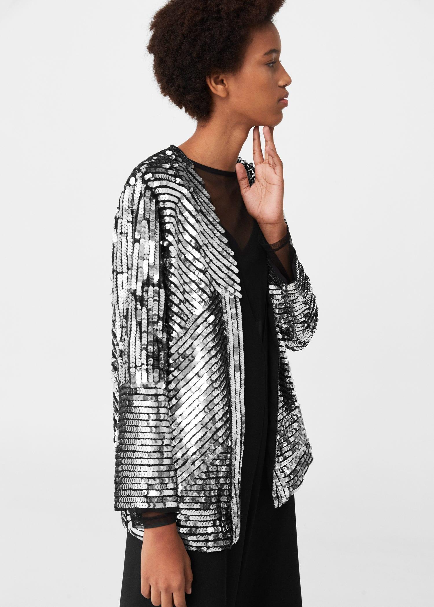 Mango Sequin Embroidered Jacket In Metallic Lyst