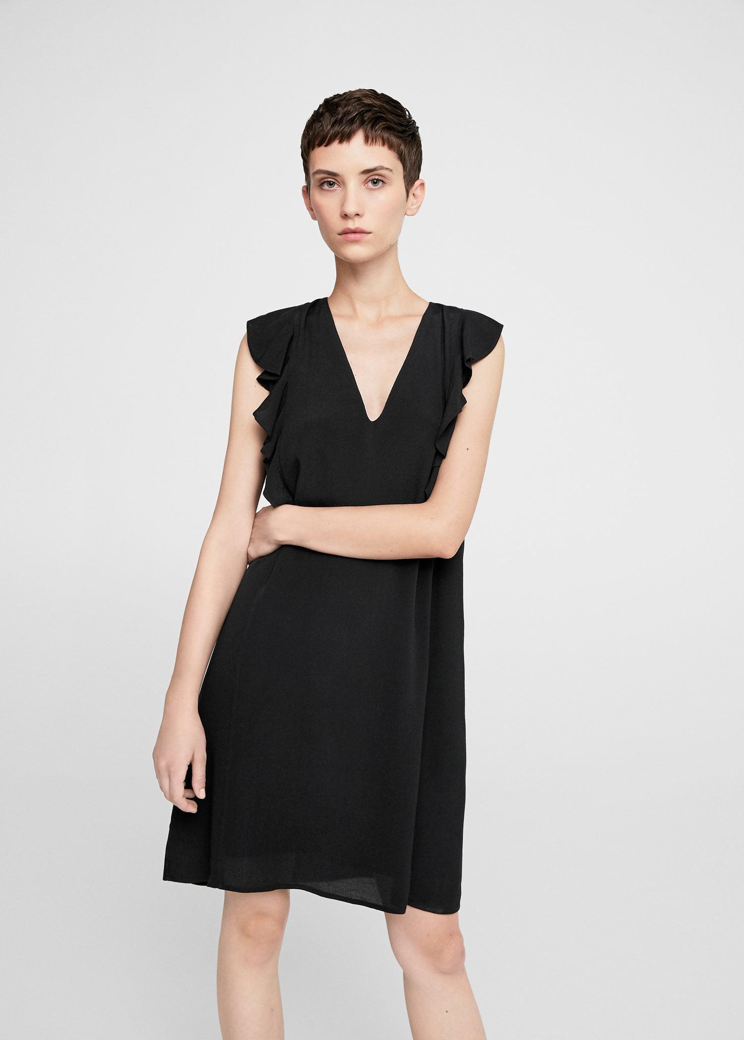 891fc9b2949b Lyst - Mango Flowy Ruffled Dress in Black