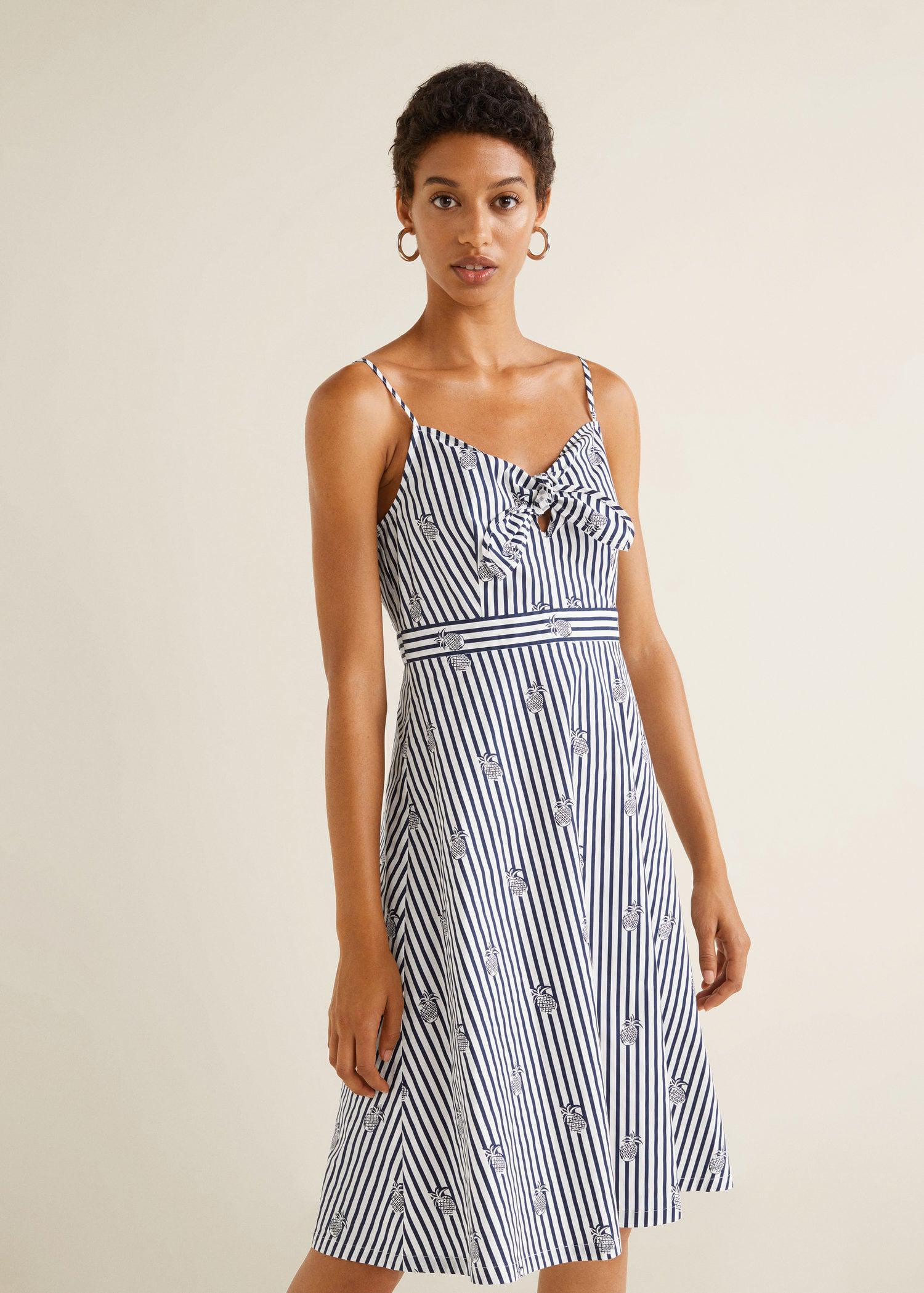 3e454b2a3c3 Lyst - Mango Striped Strap Dress in White