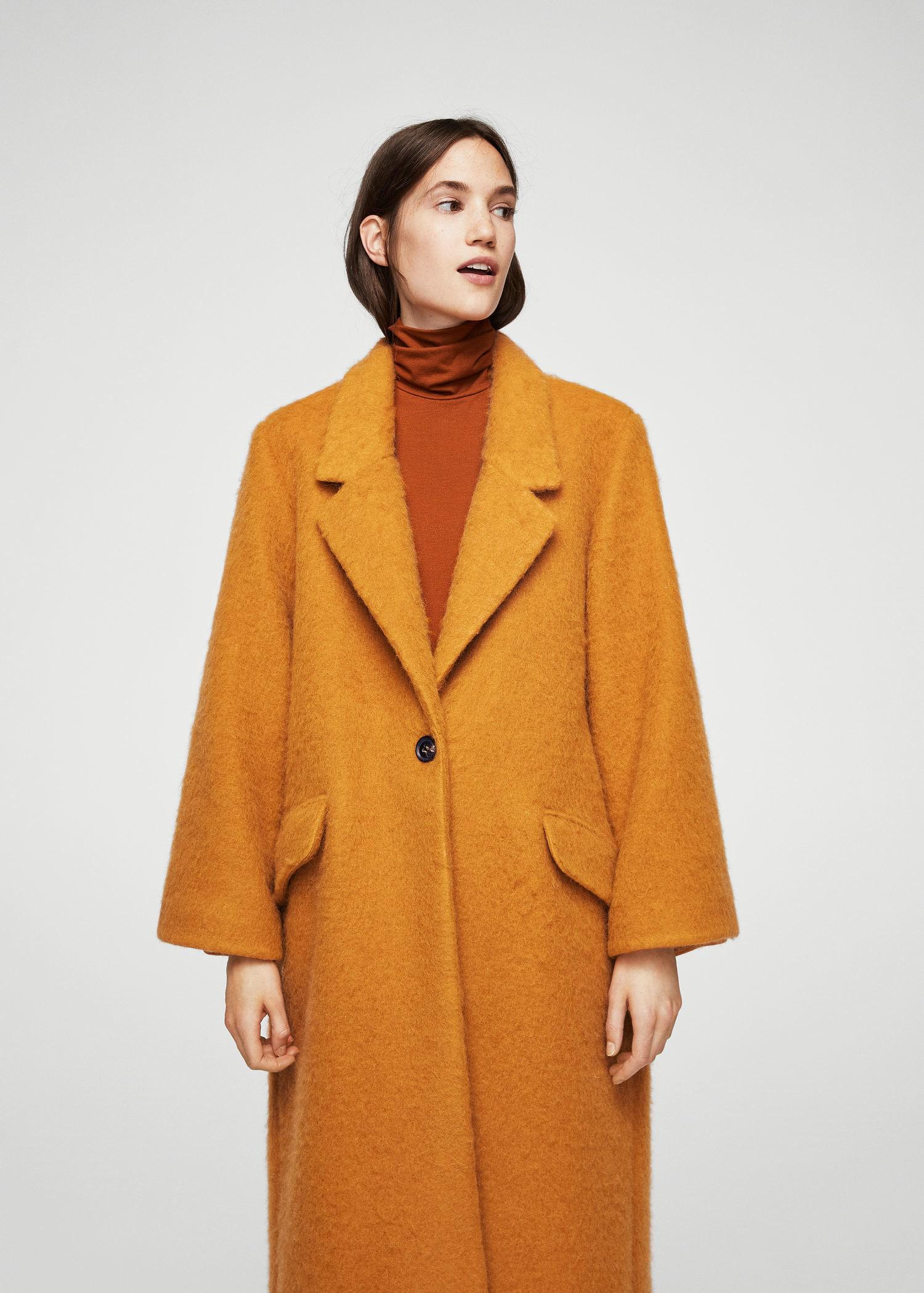 4c245d351a8e Blend Orange Mohair Coat In Mango Wool Lyst tUxwOSfgq
