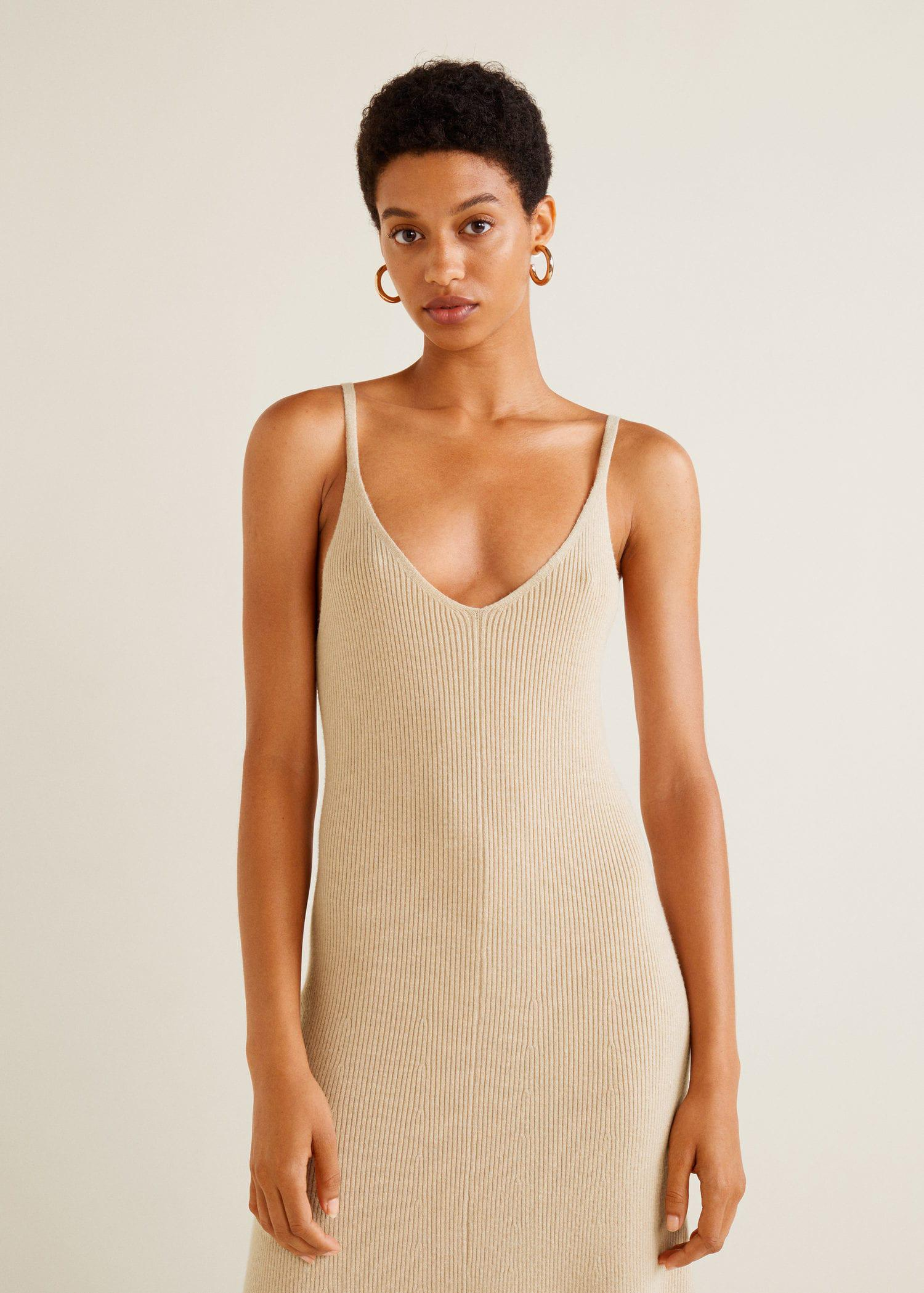 a48914f91e Mango Ribbed Jersey Dress in Natural - Lyst