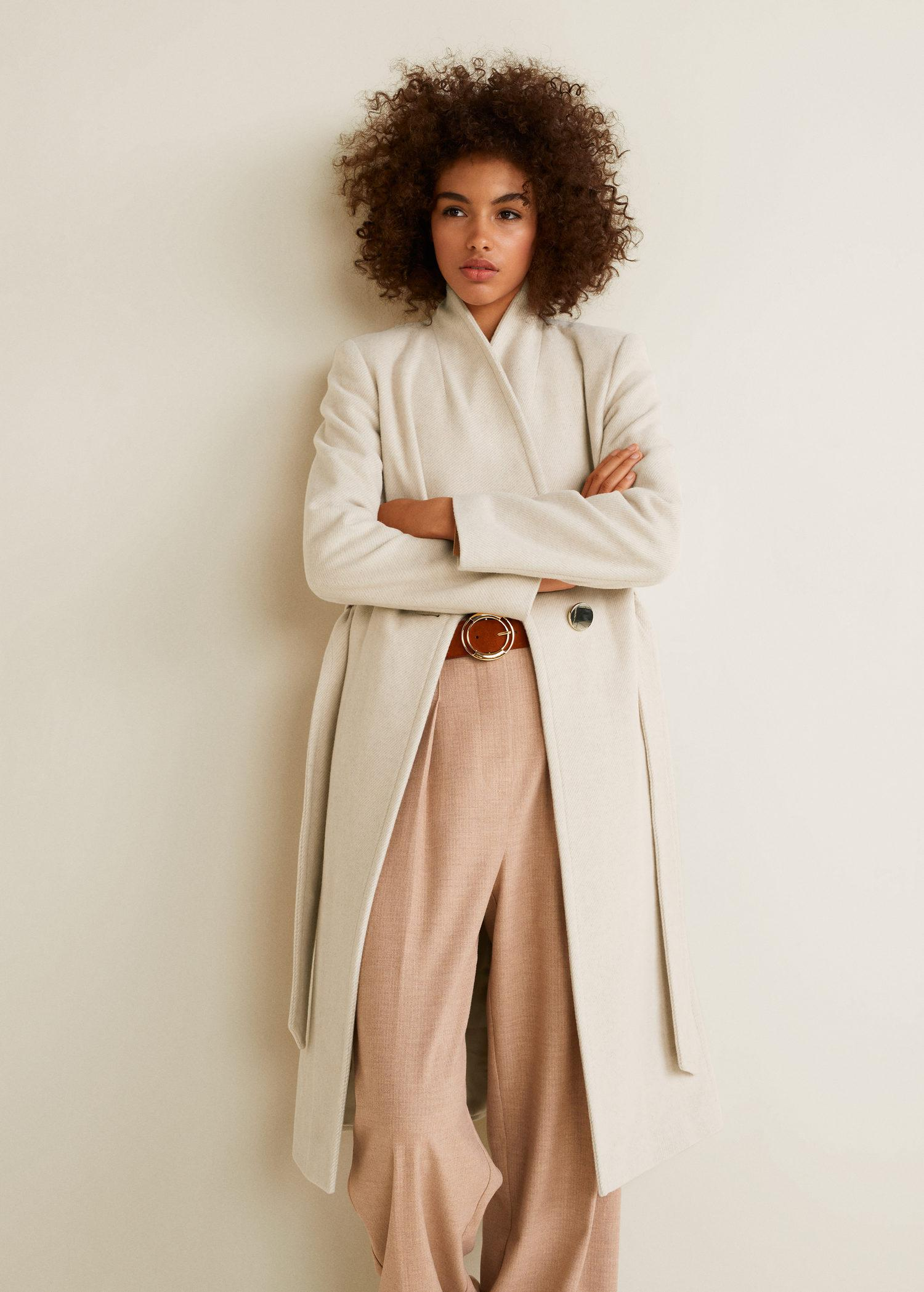 0c4df8c0f3 Mango Belted Wool Coat in Natural - Lyst