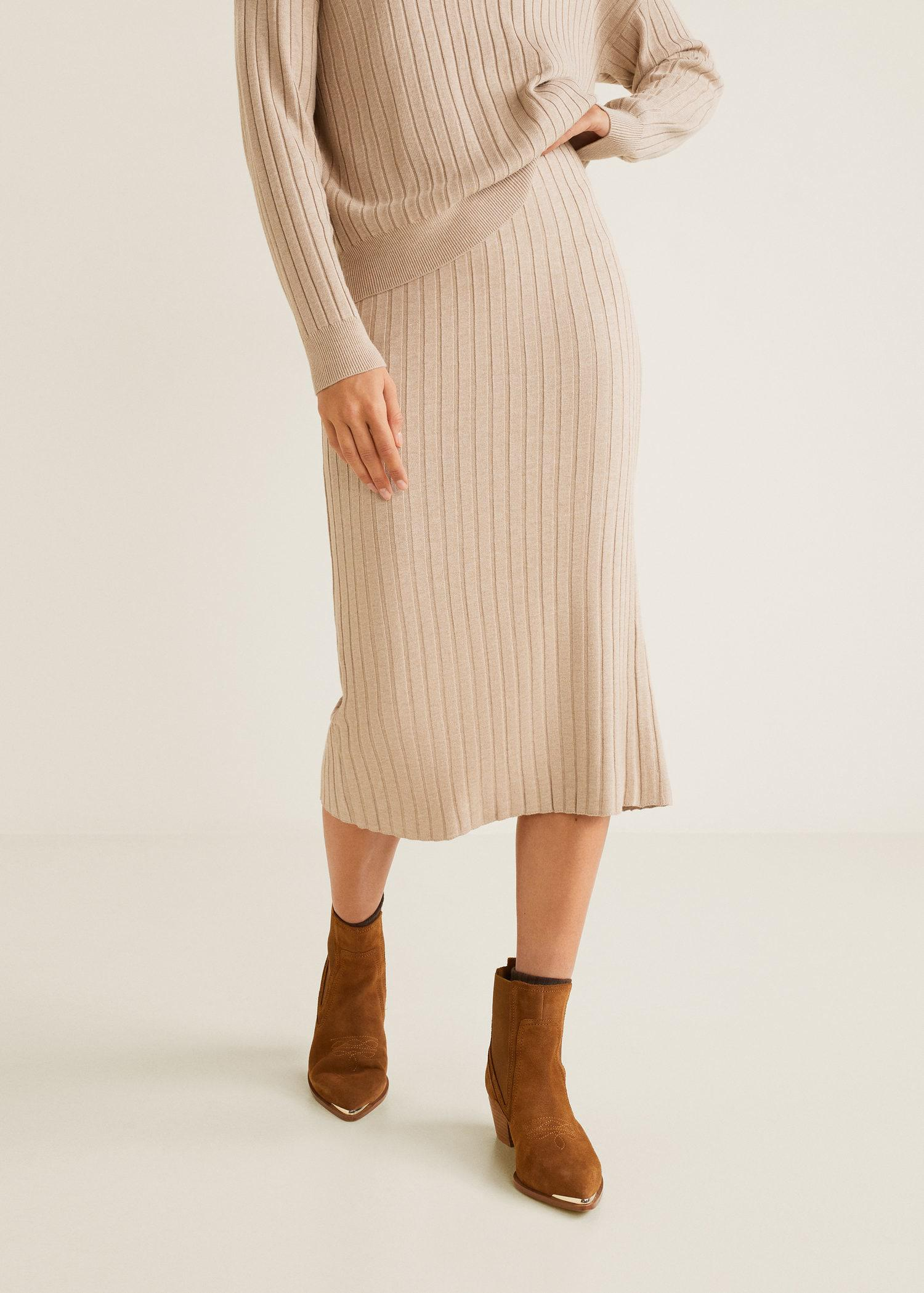 b663601dff Mango Cable Knit Skirt in Natural - Lyst