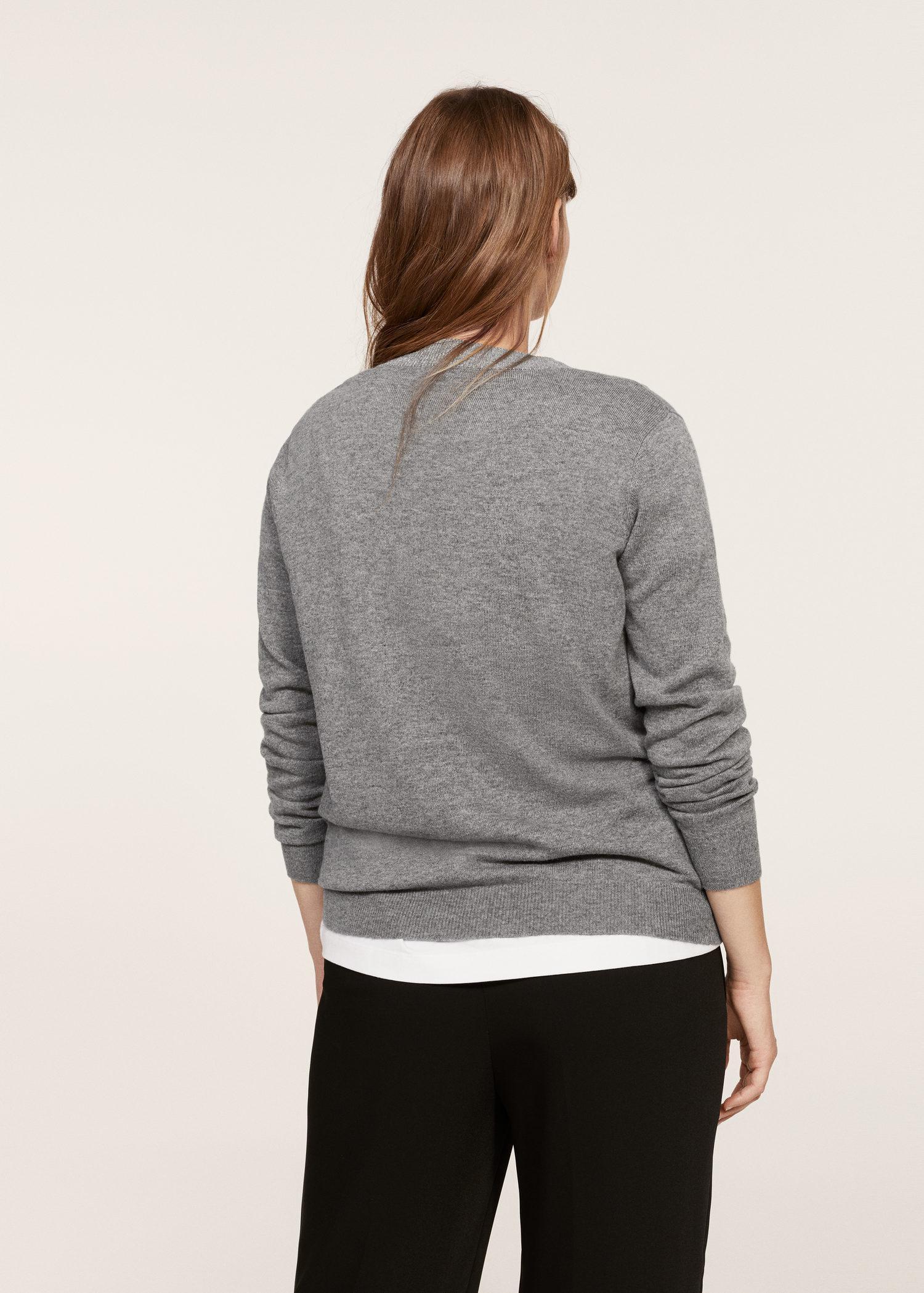Violeta By Mango Pearl Embroidery Appliqué Sweater in Gray - Lyst e8e410203