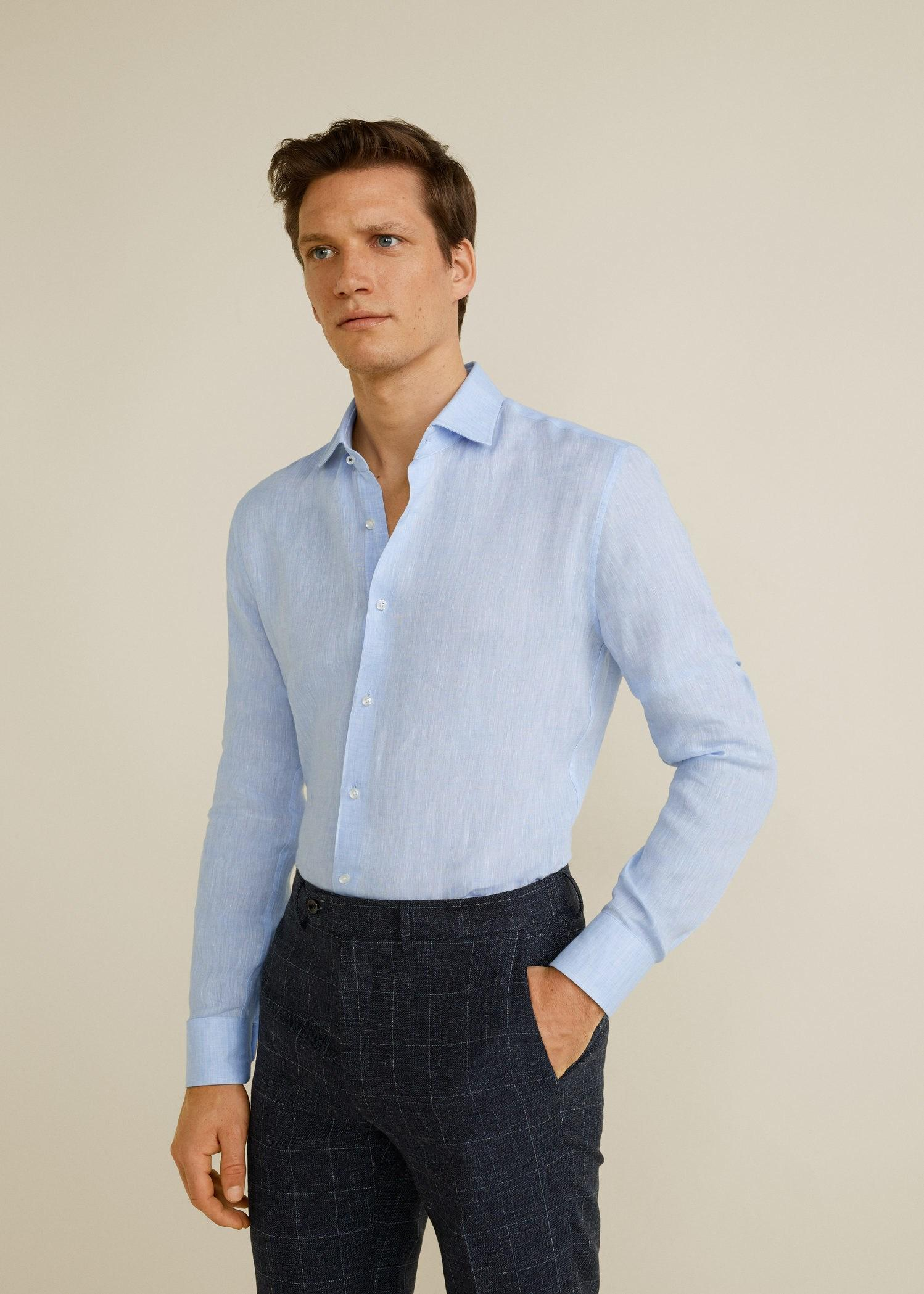 6efa65f73a96 Mango Slim-fit Tailored Linen Shirt in Blue for Men - Lyst
