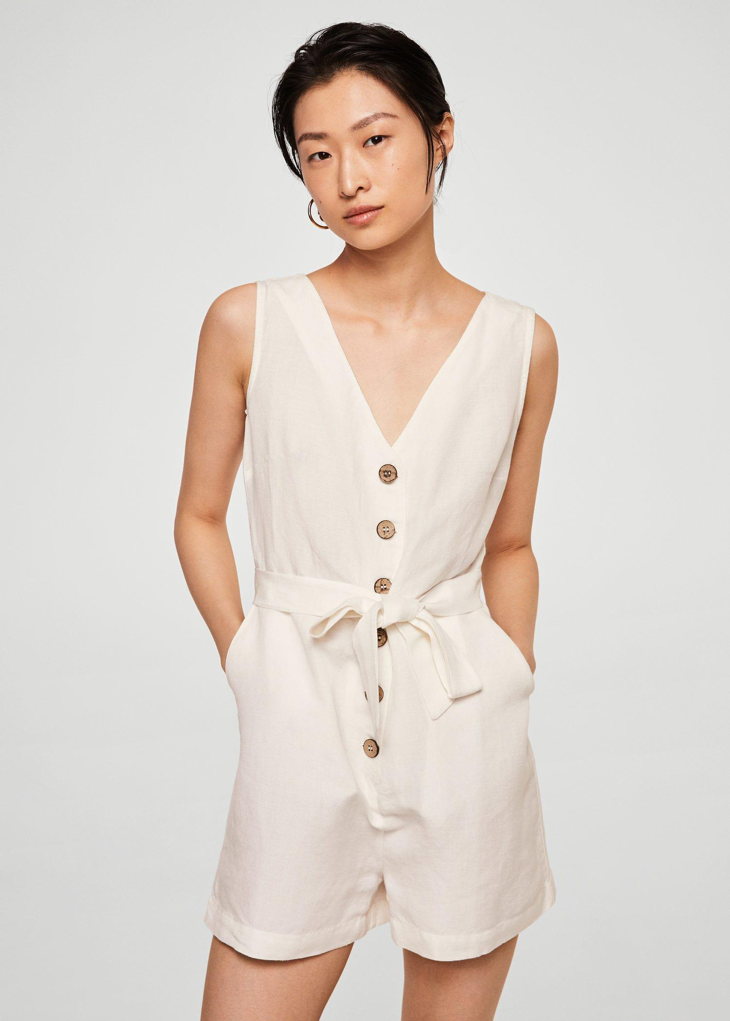 d88654f5117 Mango Bow Linen Jumpsuit in White - Lyst