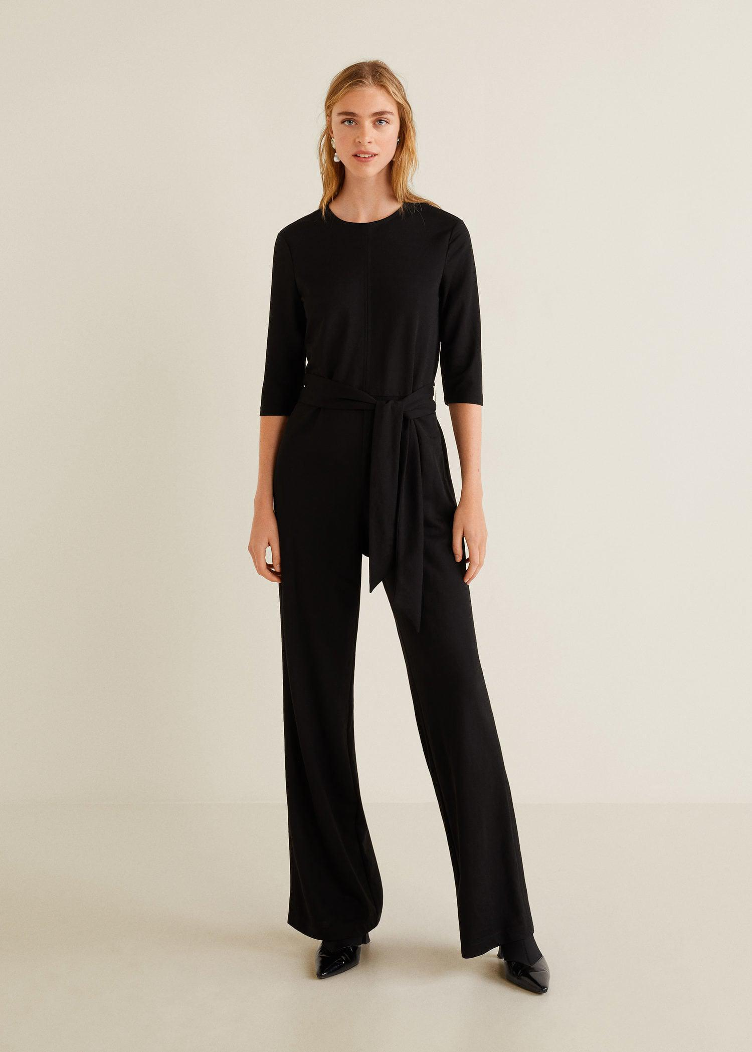 Lyst Mango Bow Long Jumpsuit In Black Longjohn Winter Wear Untuk Pria View Fullscreen