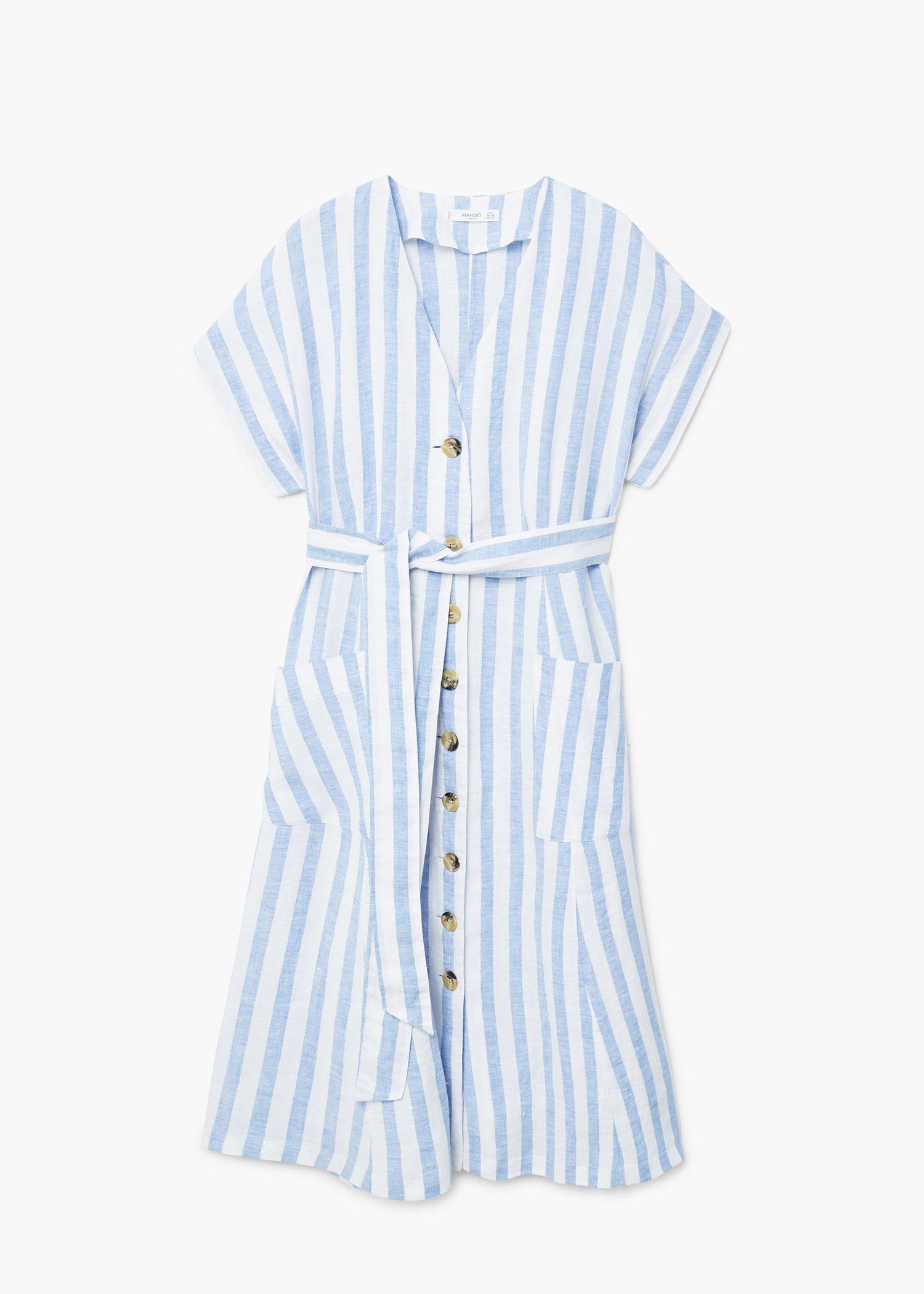 601e497ff5 Lyst - Mango Striped Linen Dress in Blue