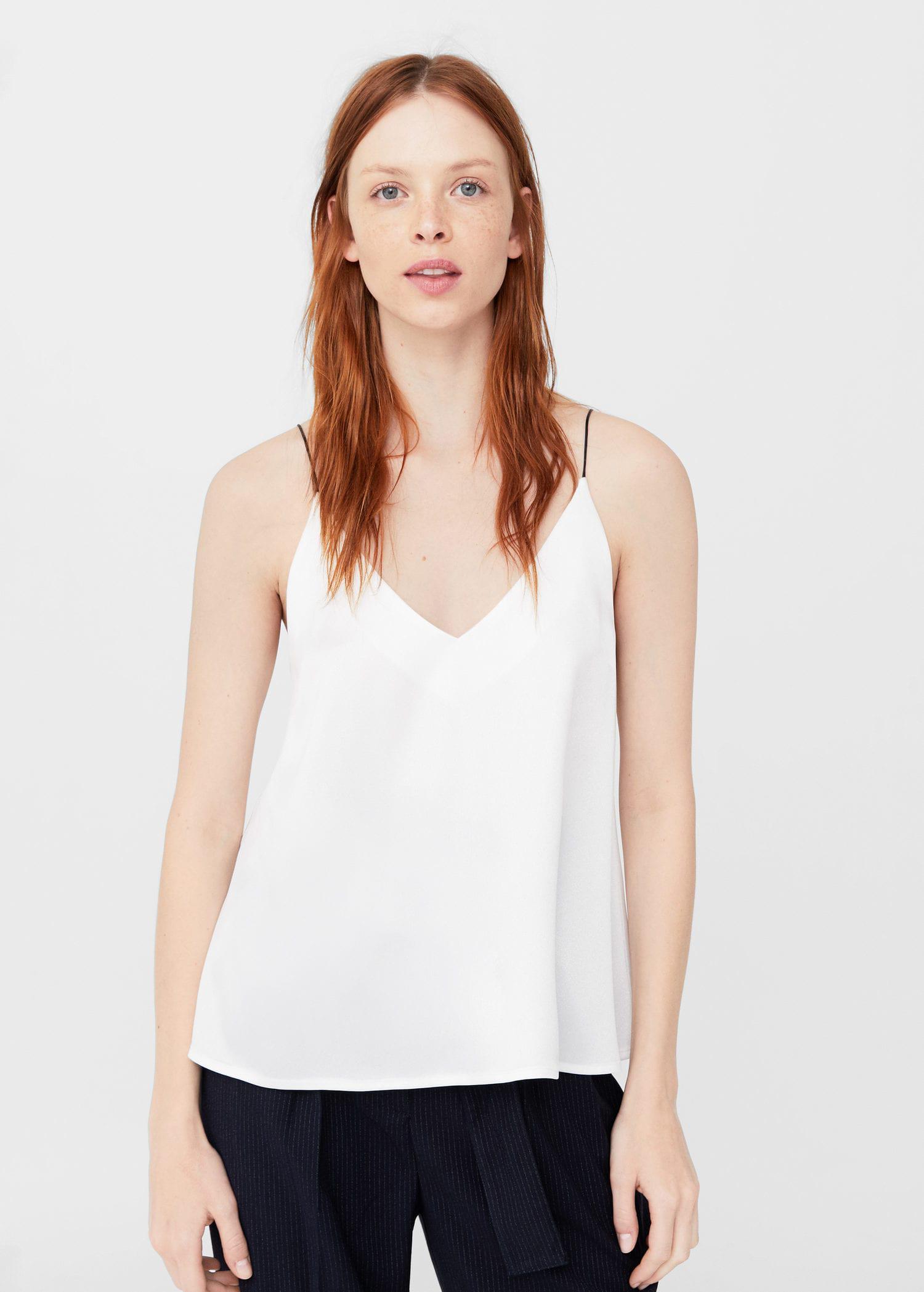 9e31b588fa279f Lyst - Mango Satin Top in White