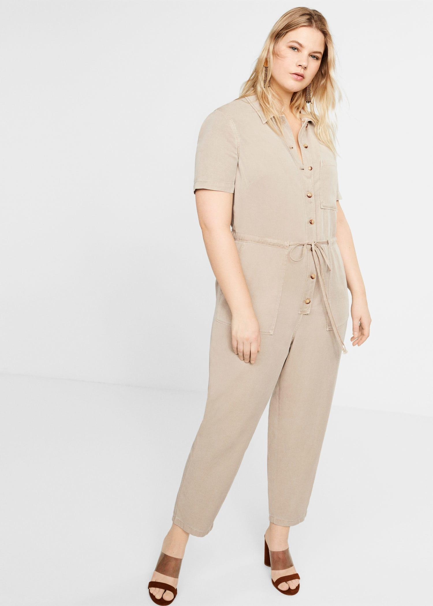 cea61fcfa0 Violeta by Mango Long Soft Jumpsuit in Natural - Lyst