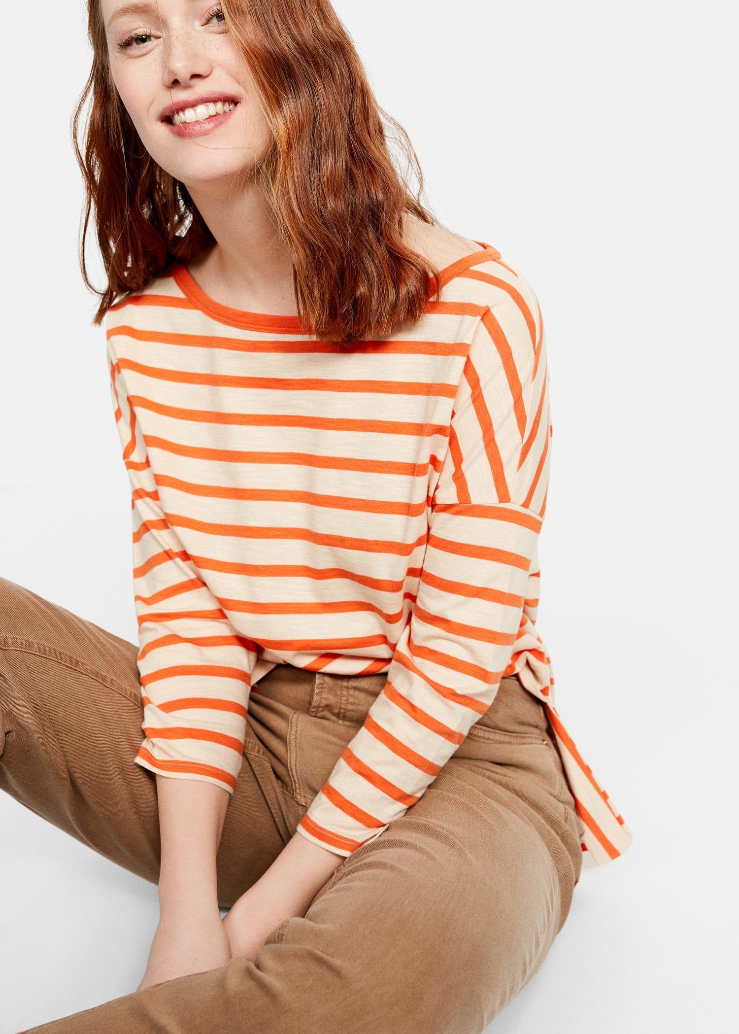 7a1d5cb67b4 Lyst - Violeta by Mango Stripes Organic Cotton T-shirt in Orange
