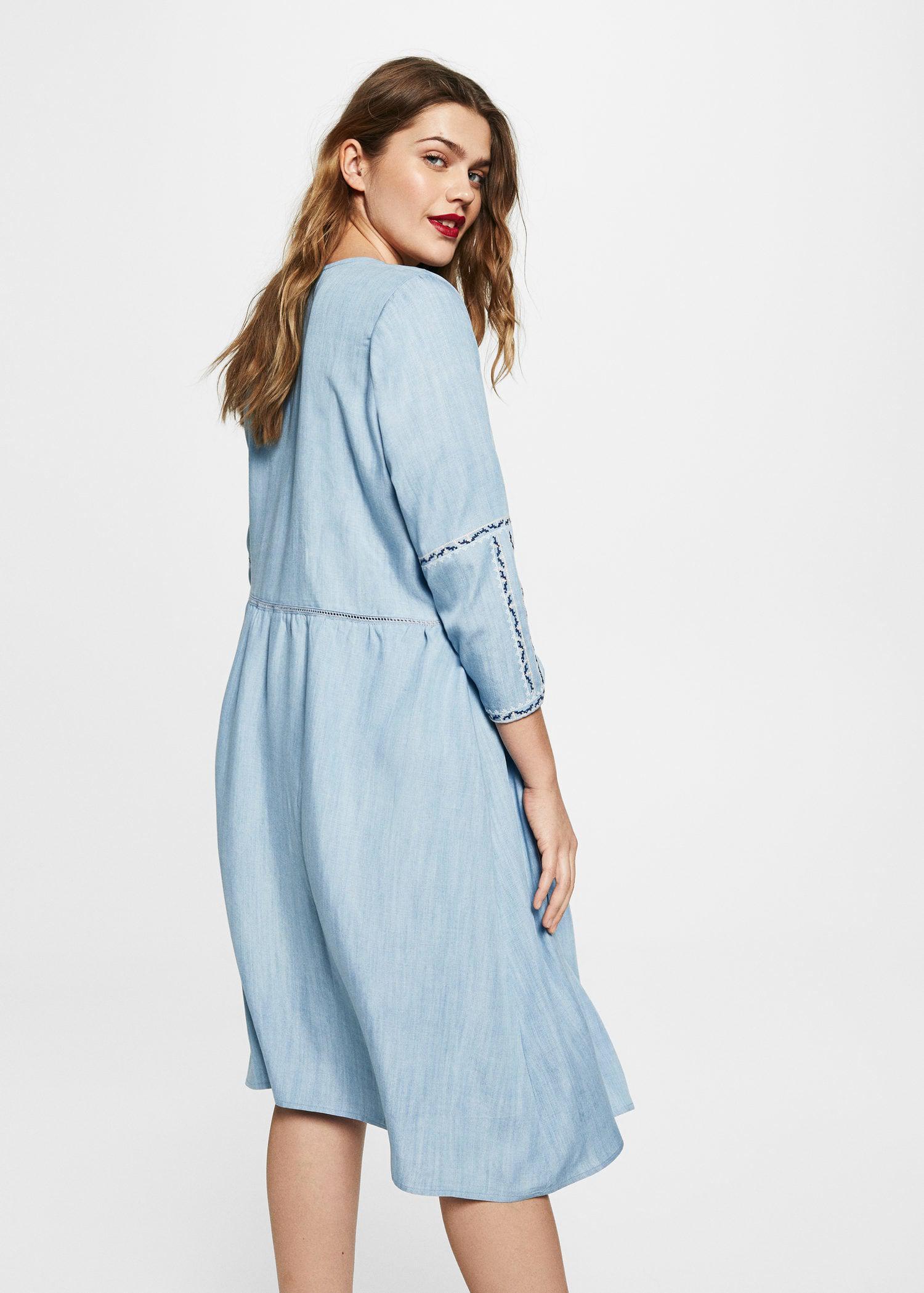 3ae5ed57b56 Violeta by Mango Embroidered Denim Dress in Blue - Lyst
