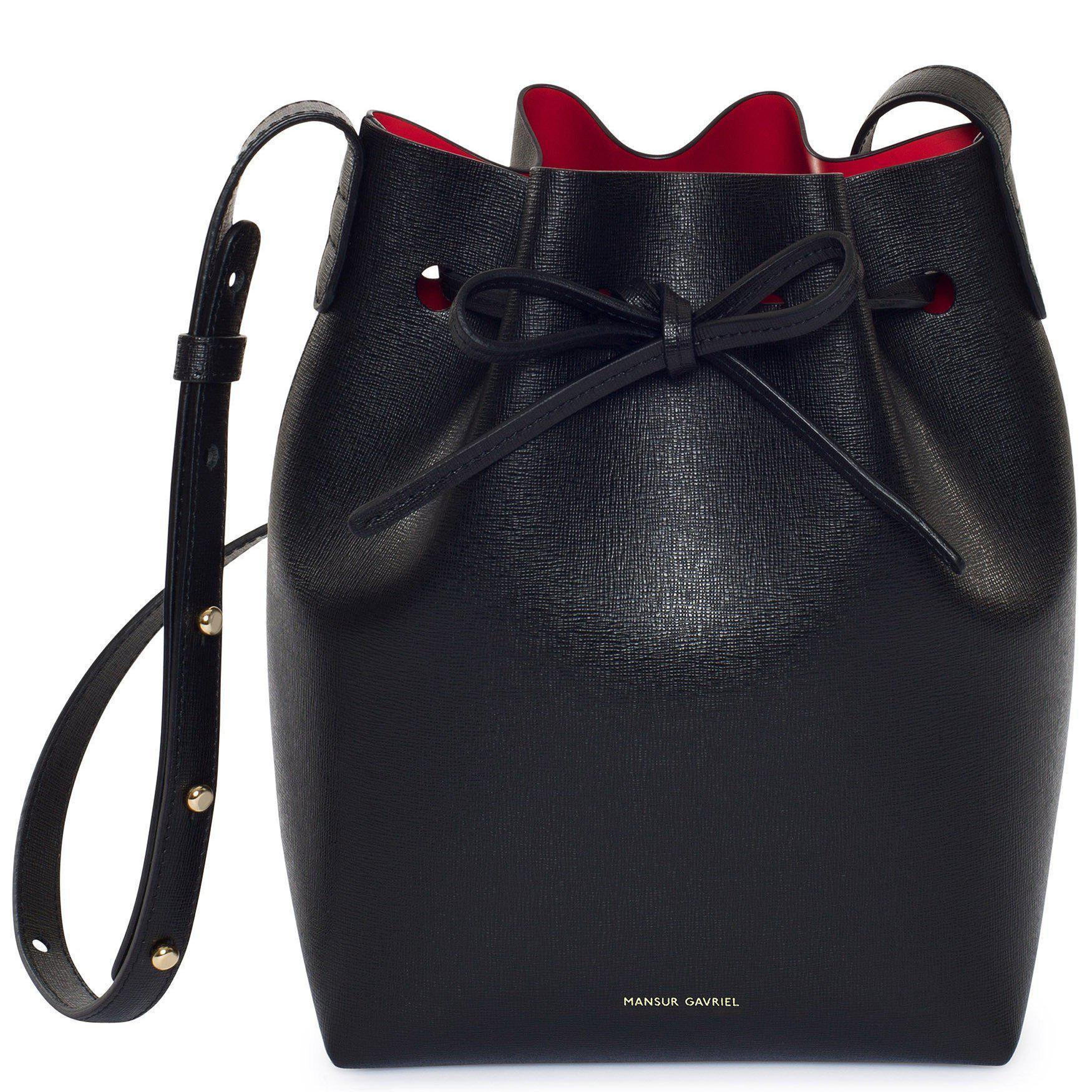 Mansur Gavriel Saffiano Mini Bucket Bag Black Flamma Lyst View Fullscreen
