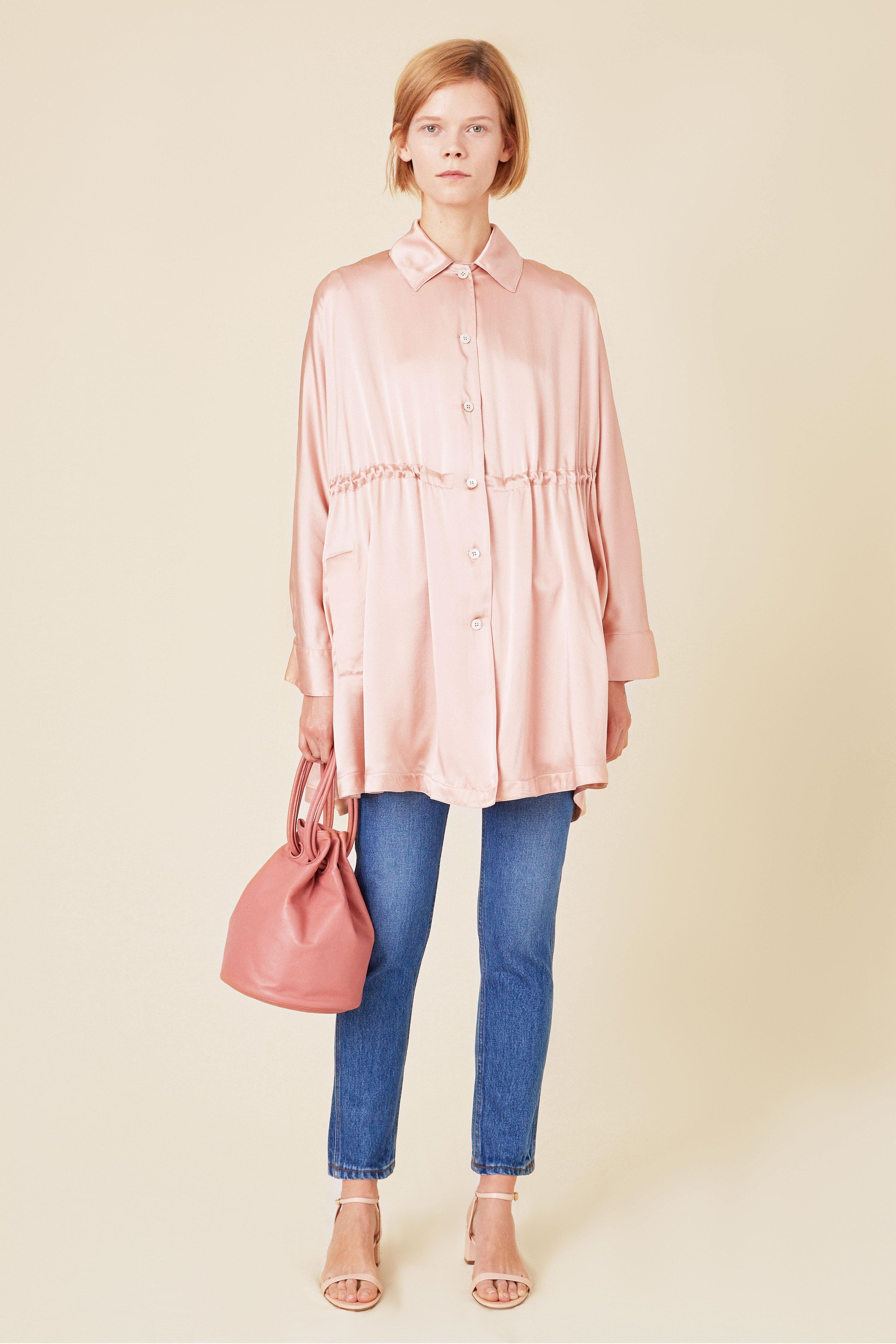 ed9af84fc9445 Lyst - Mansur Gavriel Silk Charmeuse Drawstring Coat - Blush in Pink