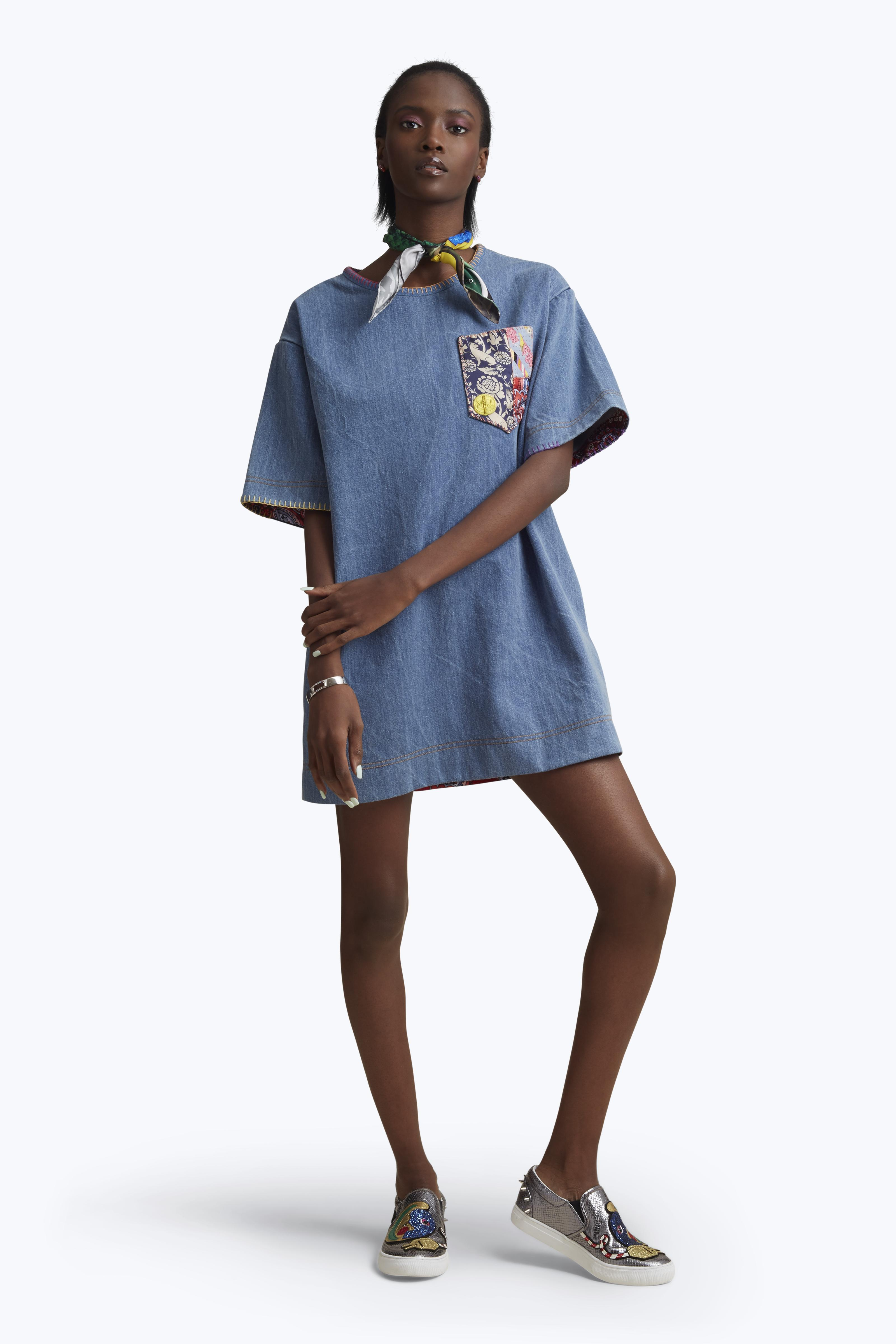 6bb59076764 Lyst - Marc jacobs Denim T-shirt Dress With Embroidery in Blue