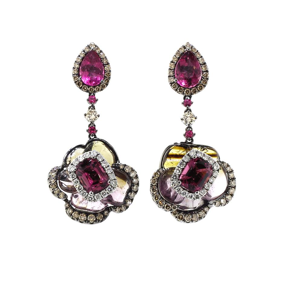 Lyst Wendy Yue Tourmaline And Rubellite Earrings