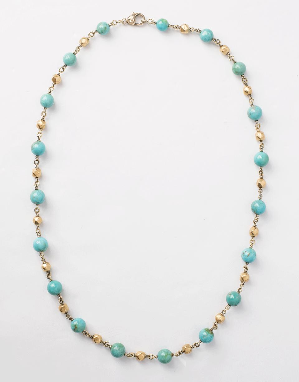 Sylva & Cie. Turquoise and Gold Bead Necklace