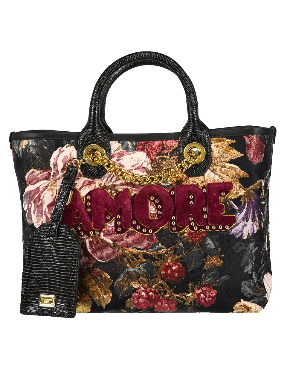 eeae9616e4 Lyst - Dolce   Gabbana Jacquard Amore Floral Print Tote in Black