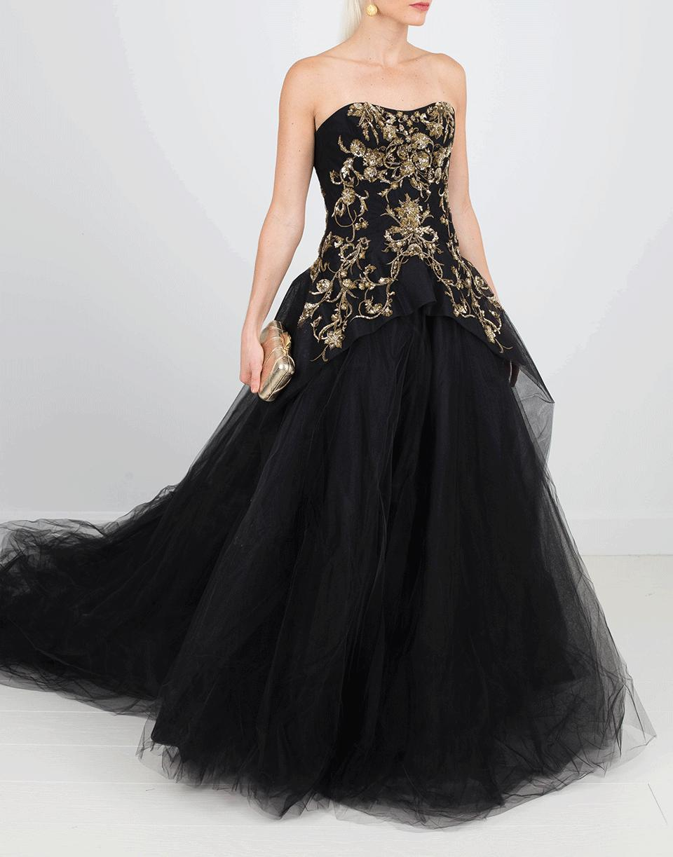 1f6c1cb669 Marchesa - Black Gold Embroidered Tulle Gown - Lyst. View fullscreen