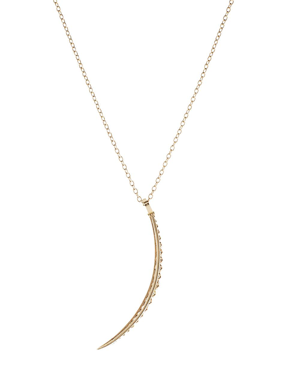 Sylva & Cie. Yellow Gold Rough Diamond Moon Pendant with Chain 6fIJp