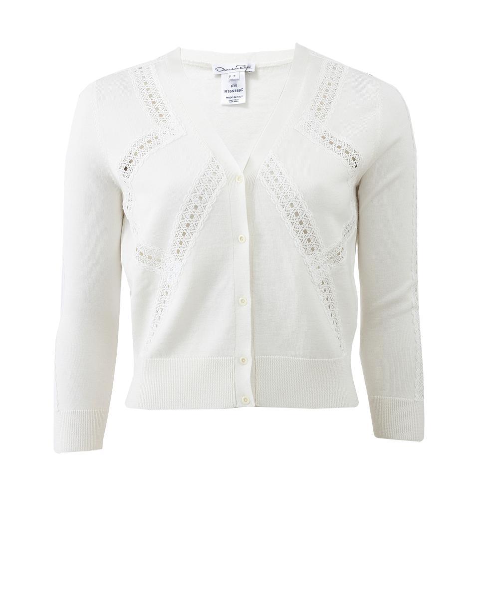 Oscar de la renta Lace Insert Cardigan in White | Lyst