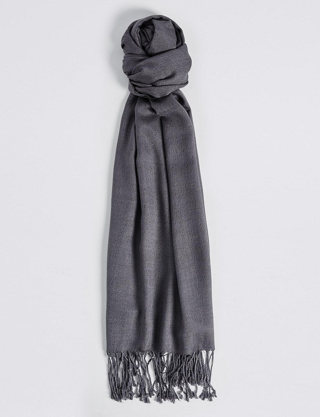 bb19f8103 Lyst - Marks & Spencer Modal Rich Pashminetta Scarf in Gray