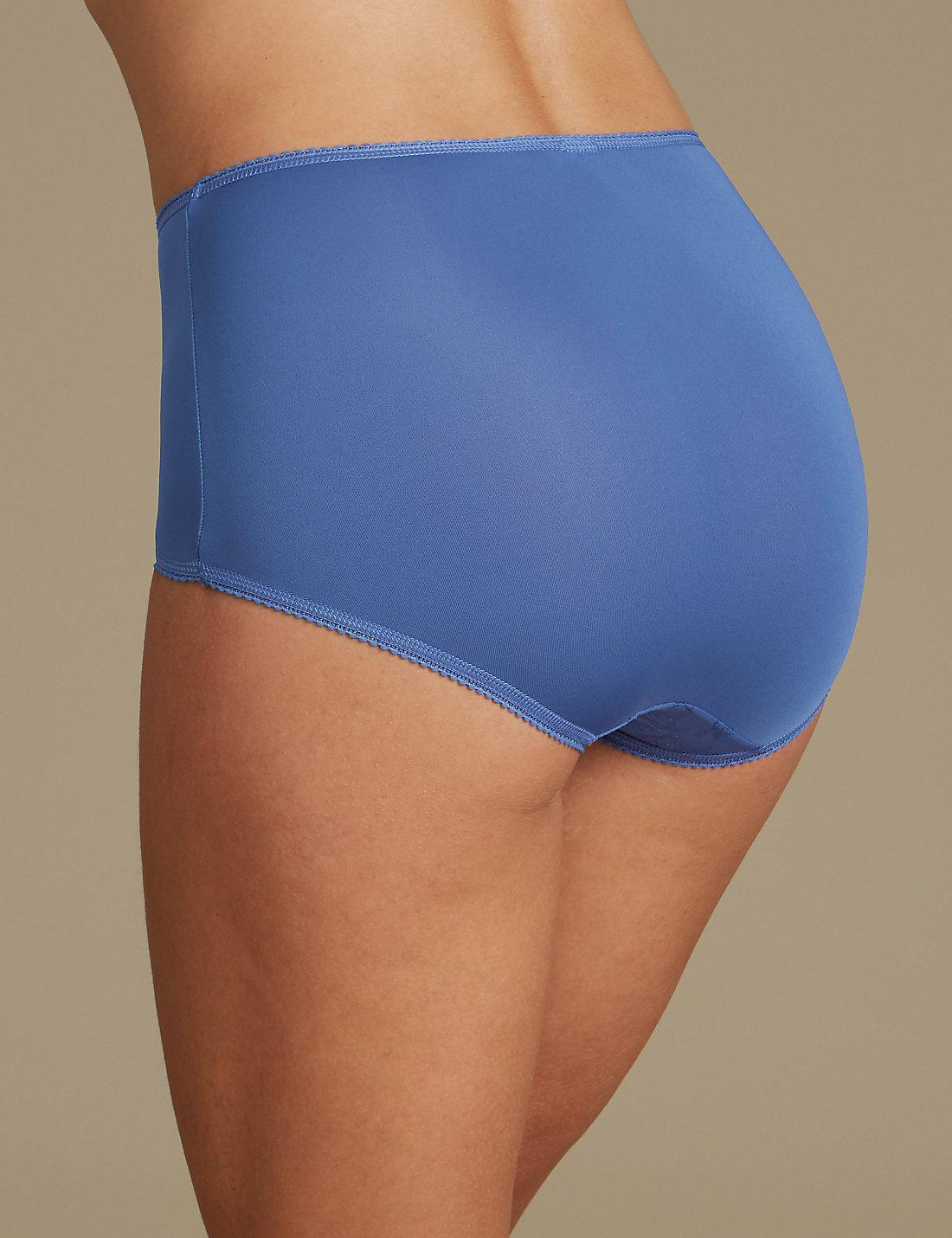 9dfeddb2e Marks   Spencer Jacquard Lace High Rise Full Briefs in Blue - Lyst