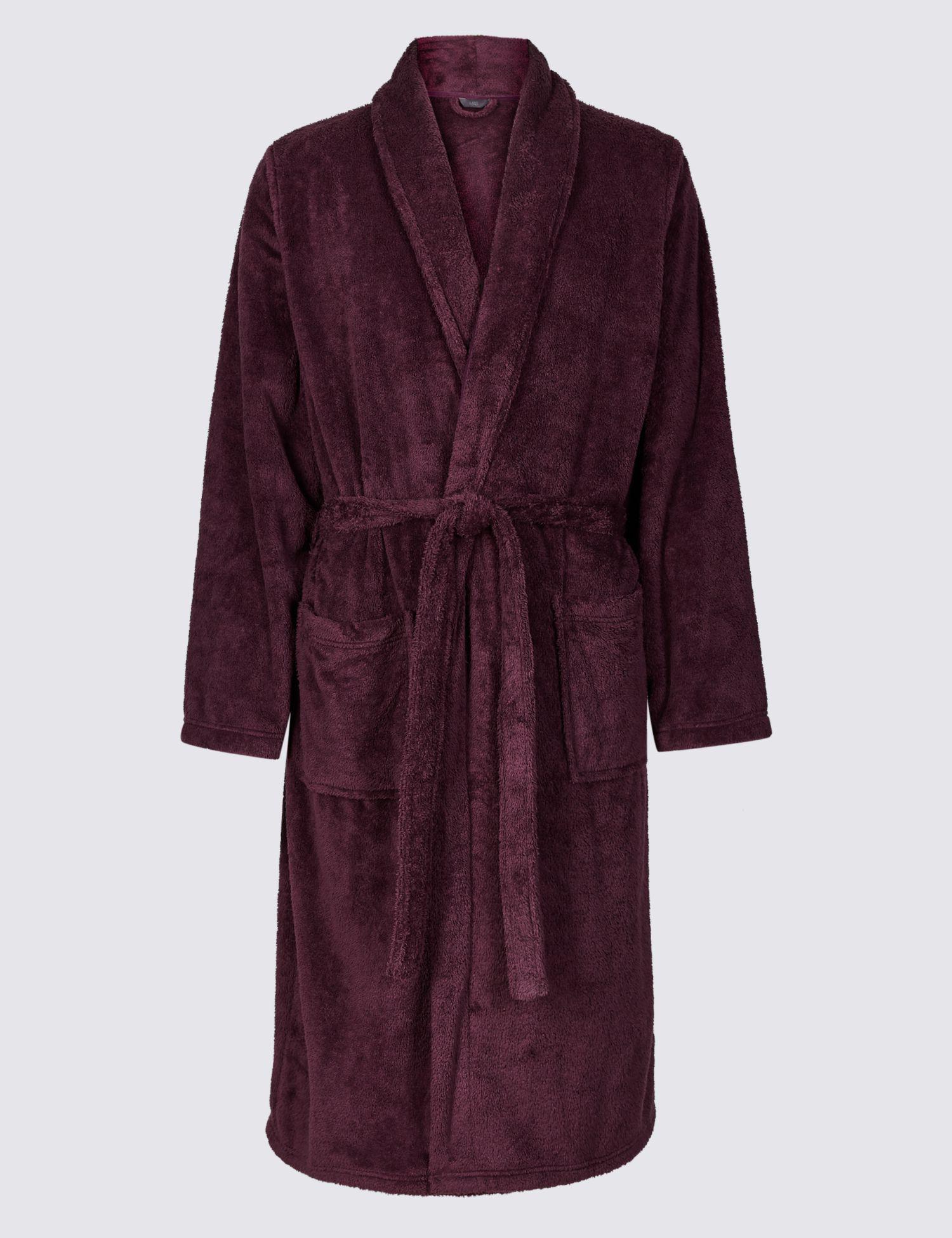 Marks & Spencer Supersoft Fleece Dressing Gown in Purple for Men - Lyst