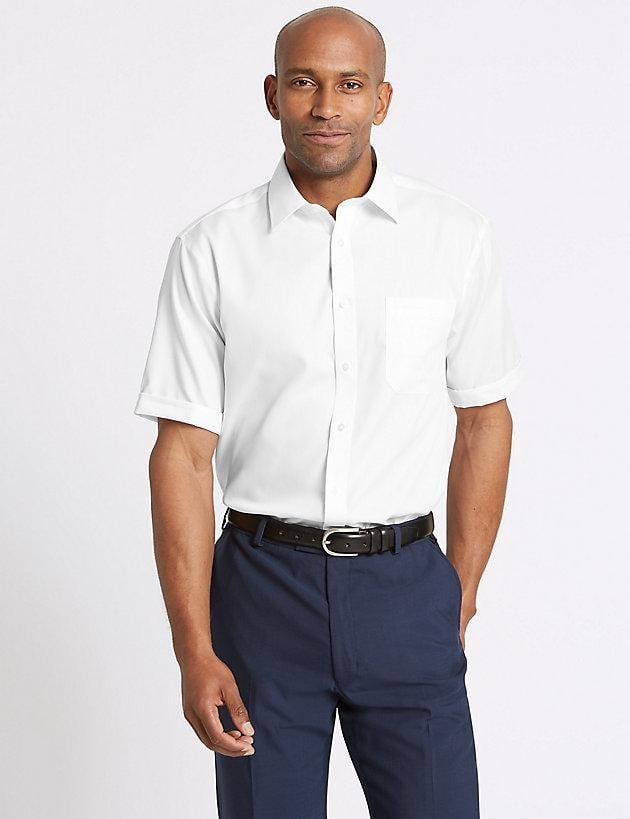 d9dfc5c5b639 Marks & Spencer - White Pure Cotton Regular Fit Non-iron Twill Shirt for  Men. View fullscreen
