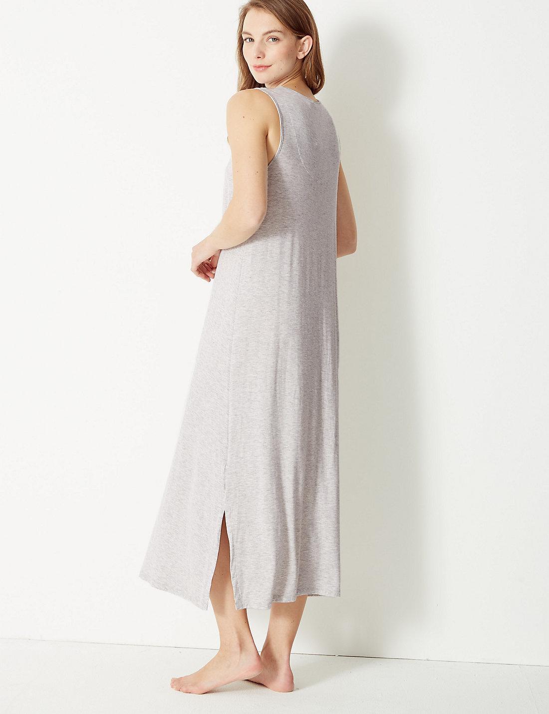 Lyst - Marks   Spencer Lace Trim Jersey Longer Length Nightdress in Gray 7189ffcbb