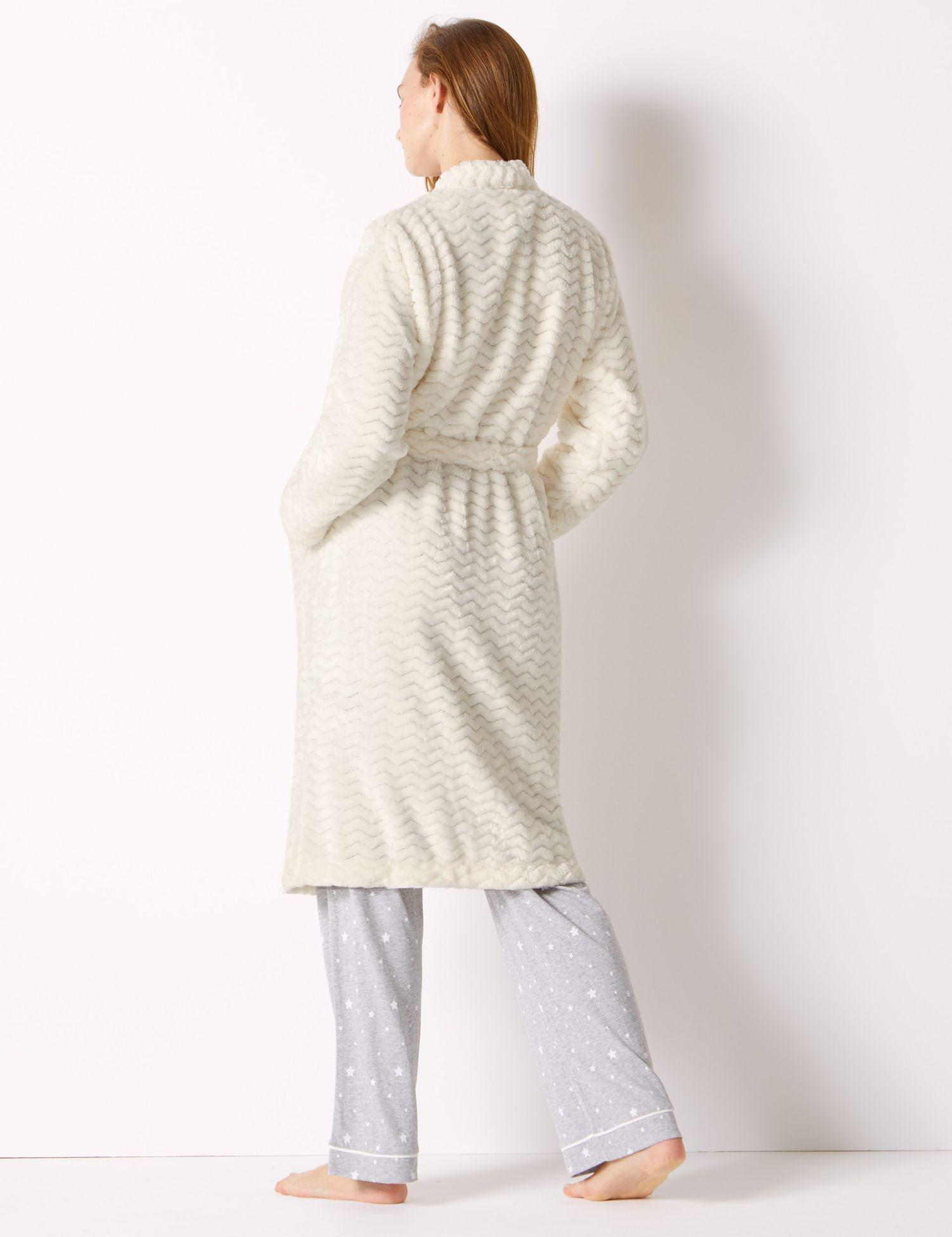 cdbe57f8f5 Marks   Spencer Textured Supersoft Kimono Dressing Gown in White - Lyst