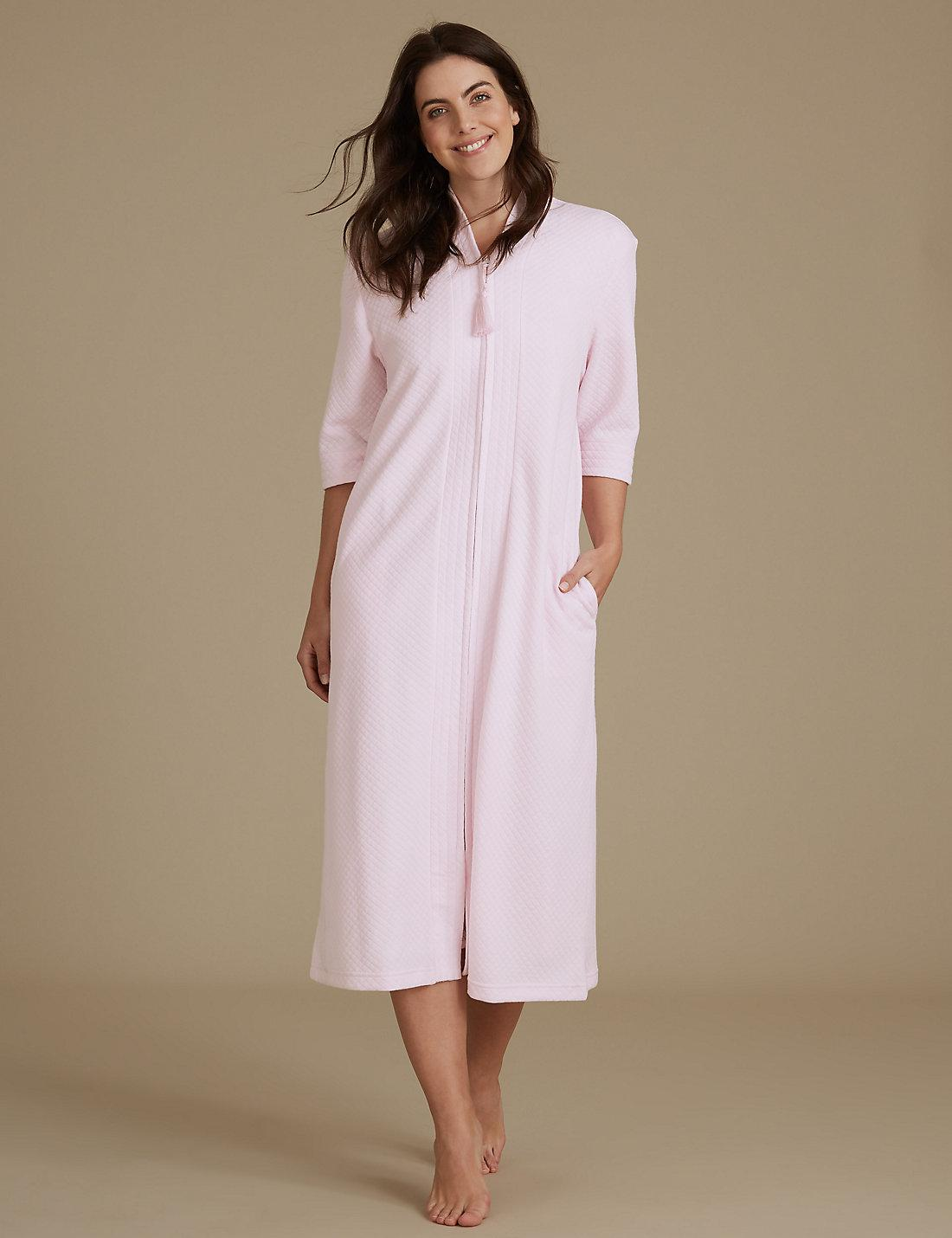 Lyst - Marks   Spencer Quilted Zip Through Dressing Gown in Pink 35e408119